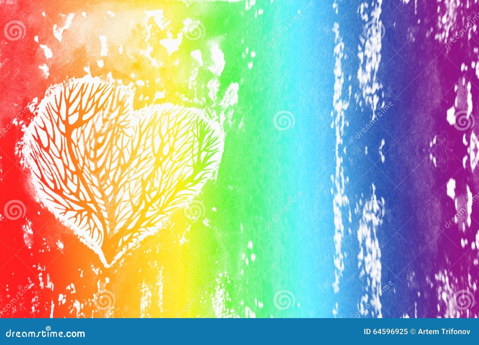La silhouette d 39 un coeur avec les arbres l 39 int rieur fond d 39 aquarelle d 39 arc en ciel olour de - Photo d un coeur ...