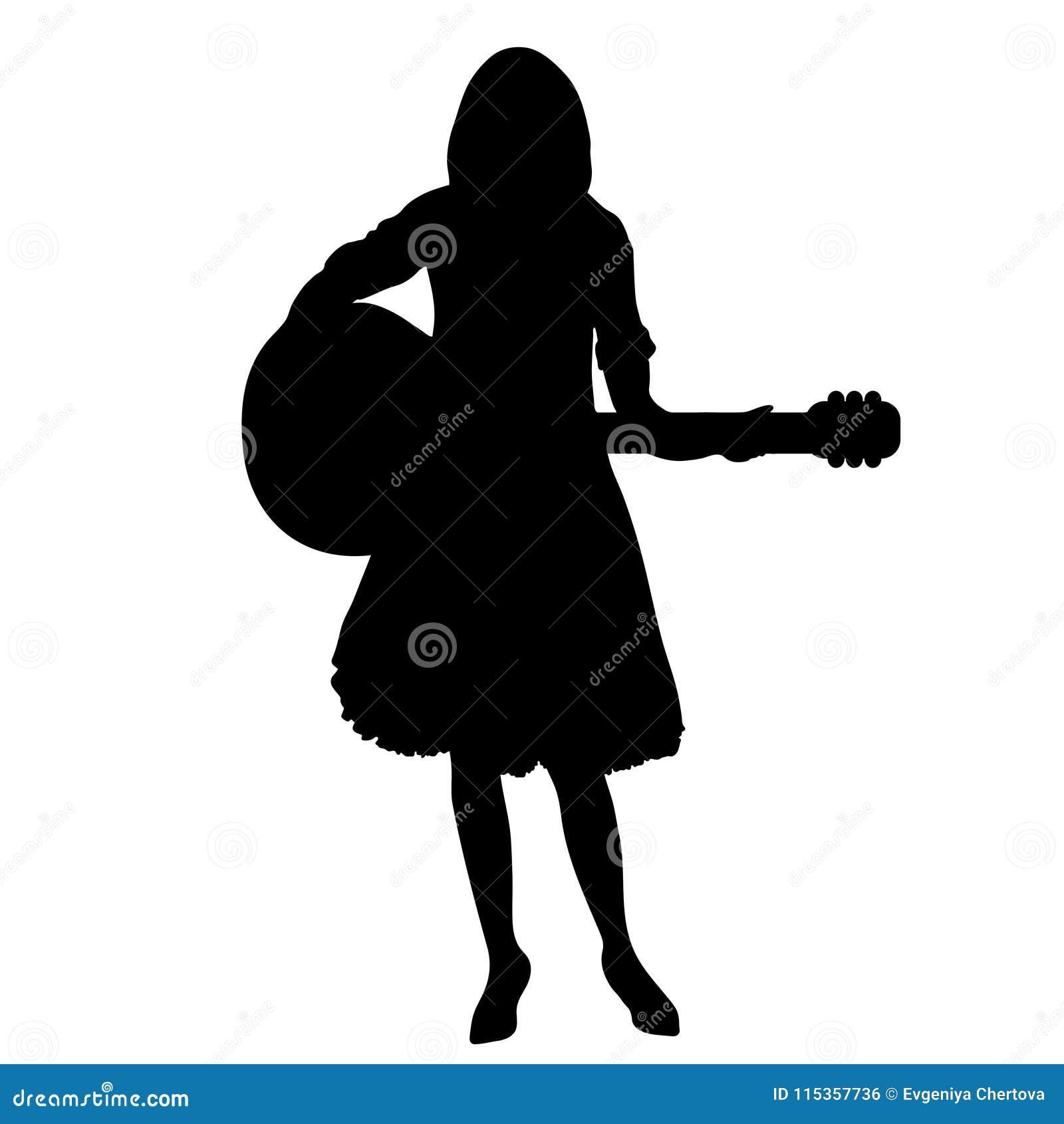 La Silhouette De Joueur De Guitare De Fille Dessin De