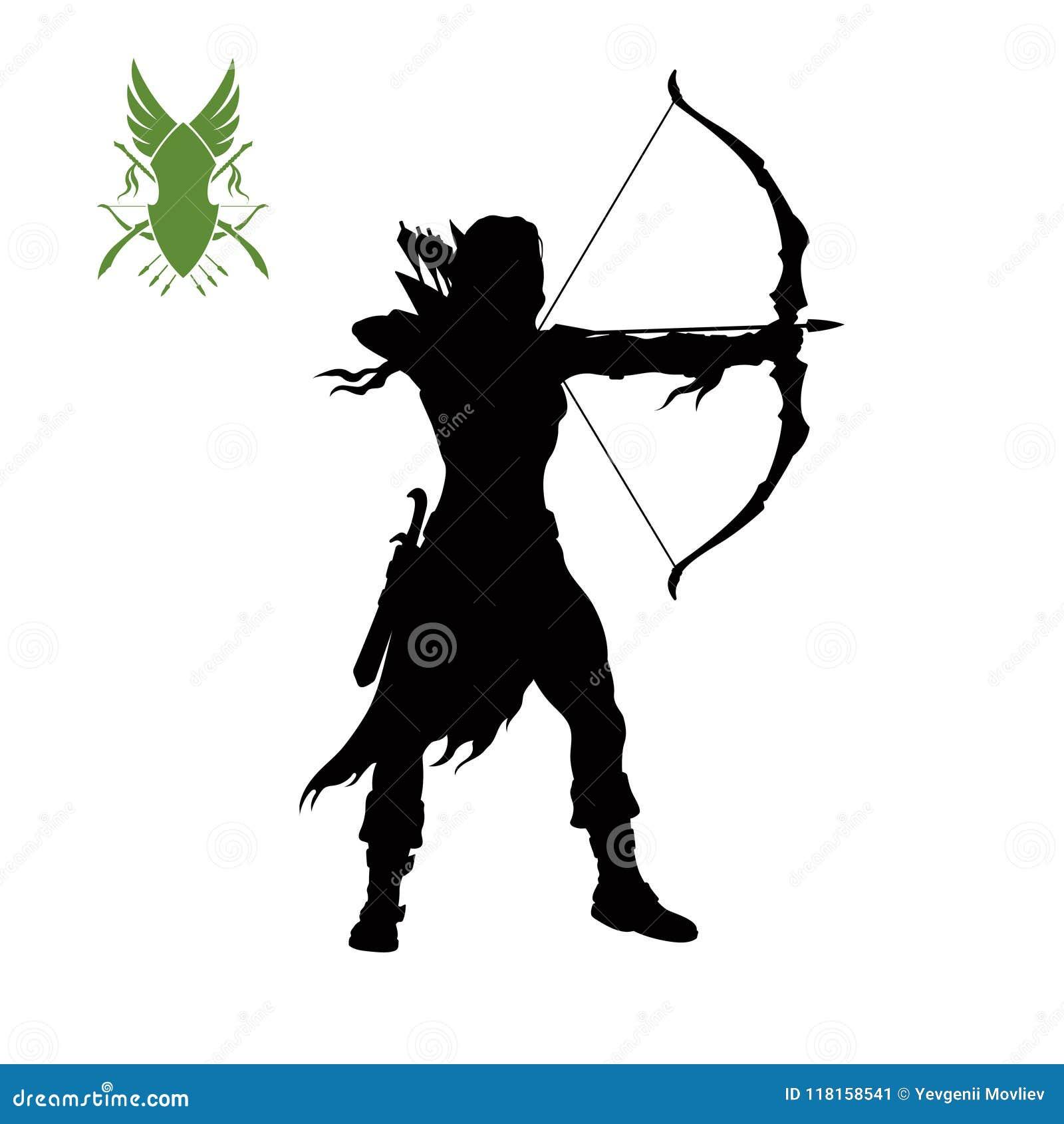 La silhouette noire de elven l archer avec l arc Caractère d imagination Icône de jeux de scout avec l arme