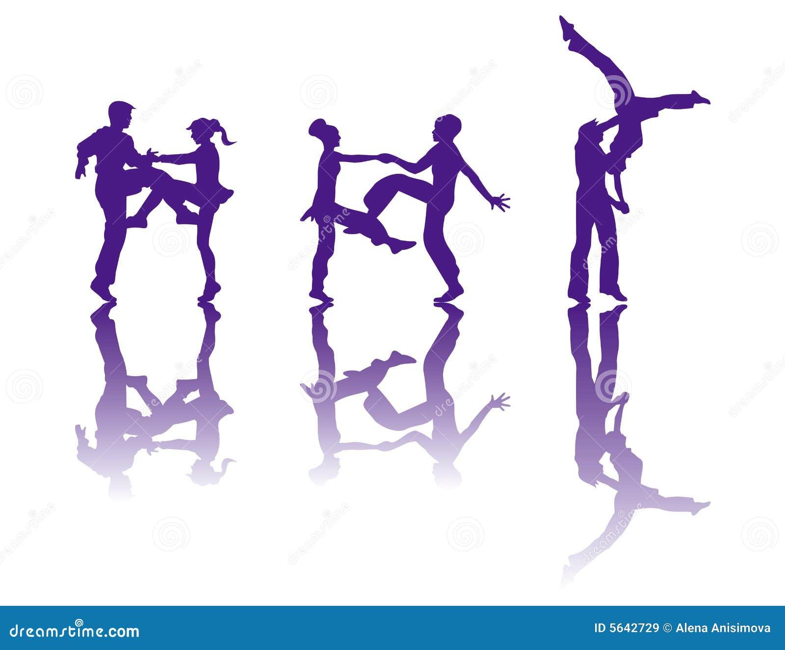 La silueta de bailarines