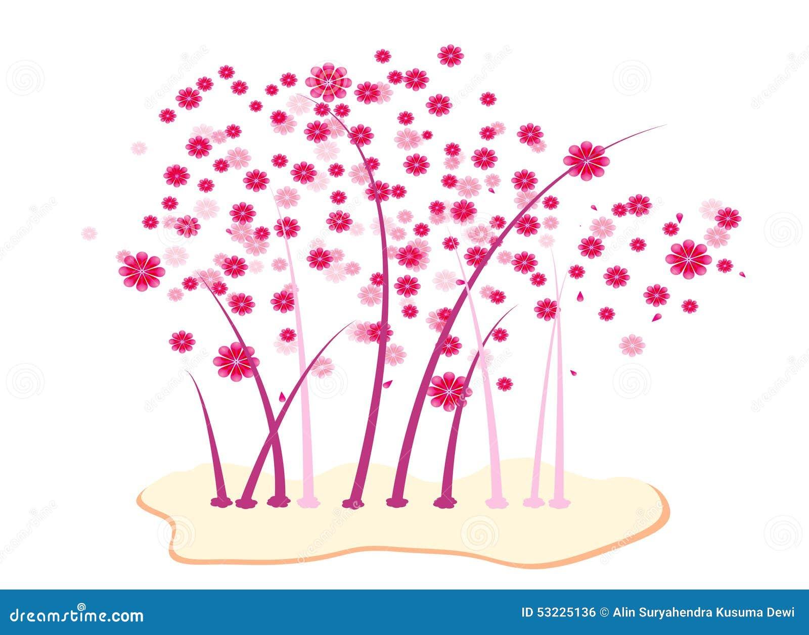 La silueta de la flor de cerezo
