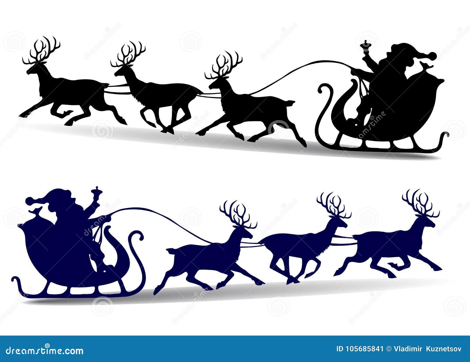 La silueta de la Navidad de Santa Claus monta en un trineo en los ciervos, c