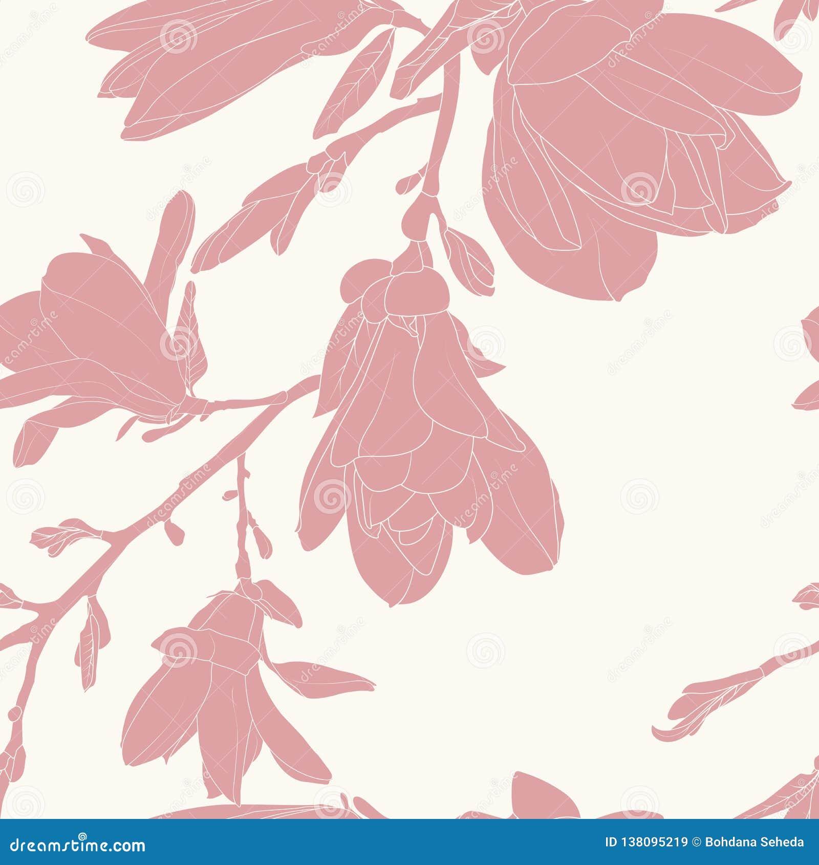 La silueta rosada de la magnolia florece el modelo inconsútil minimalista