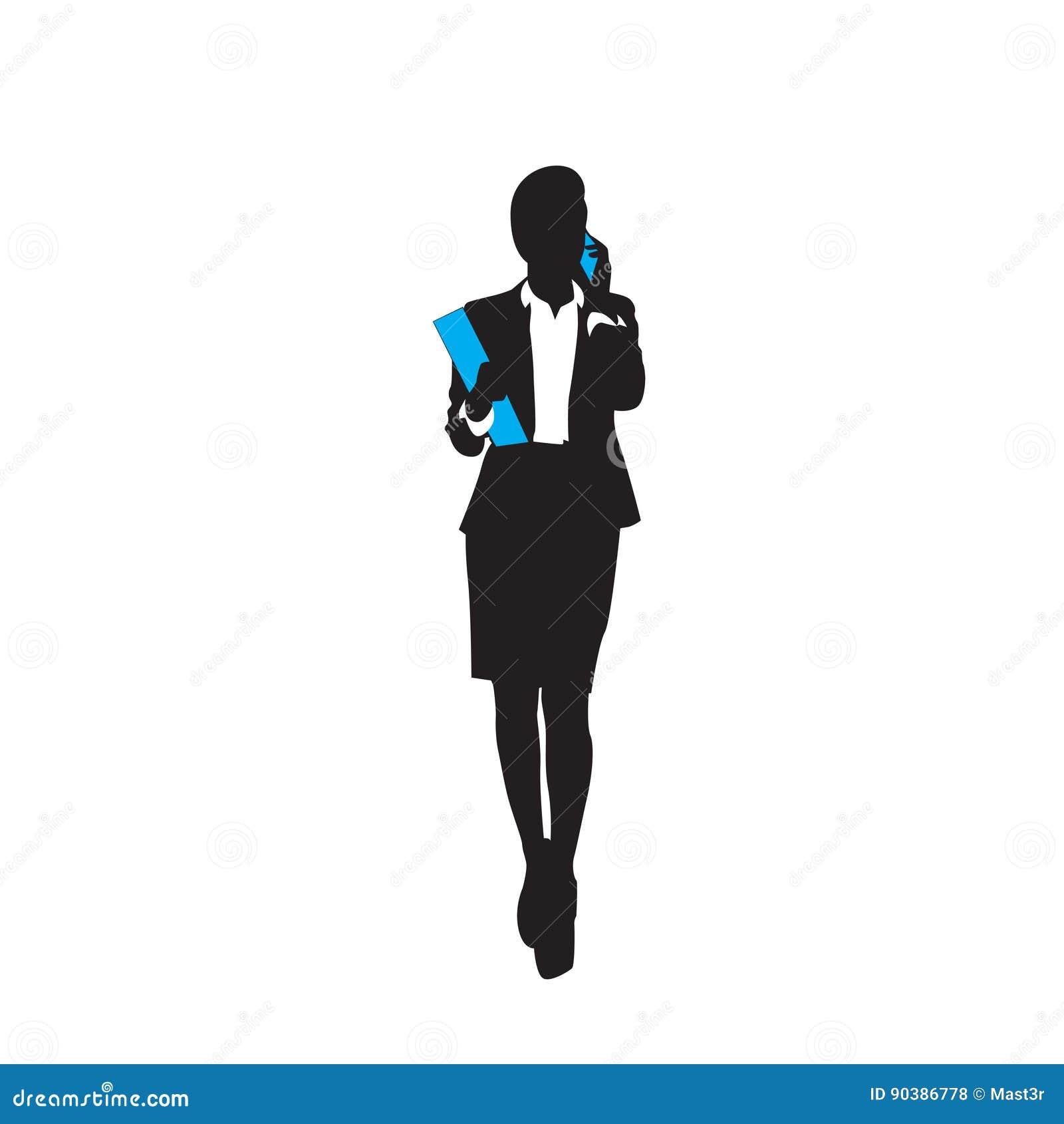 La siluetta del nero della donna di affari integrale parla la chiamata di Smart Phone delle cellule sopra fondo bianco