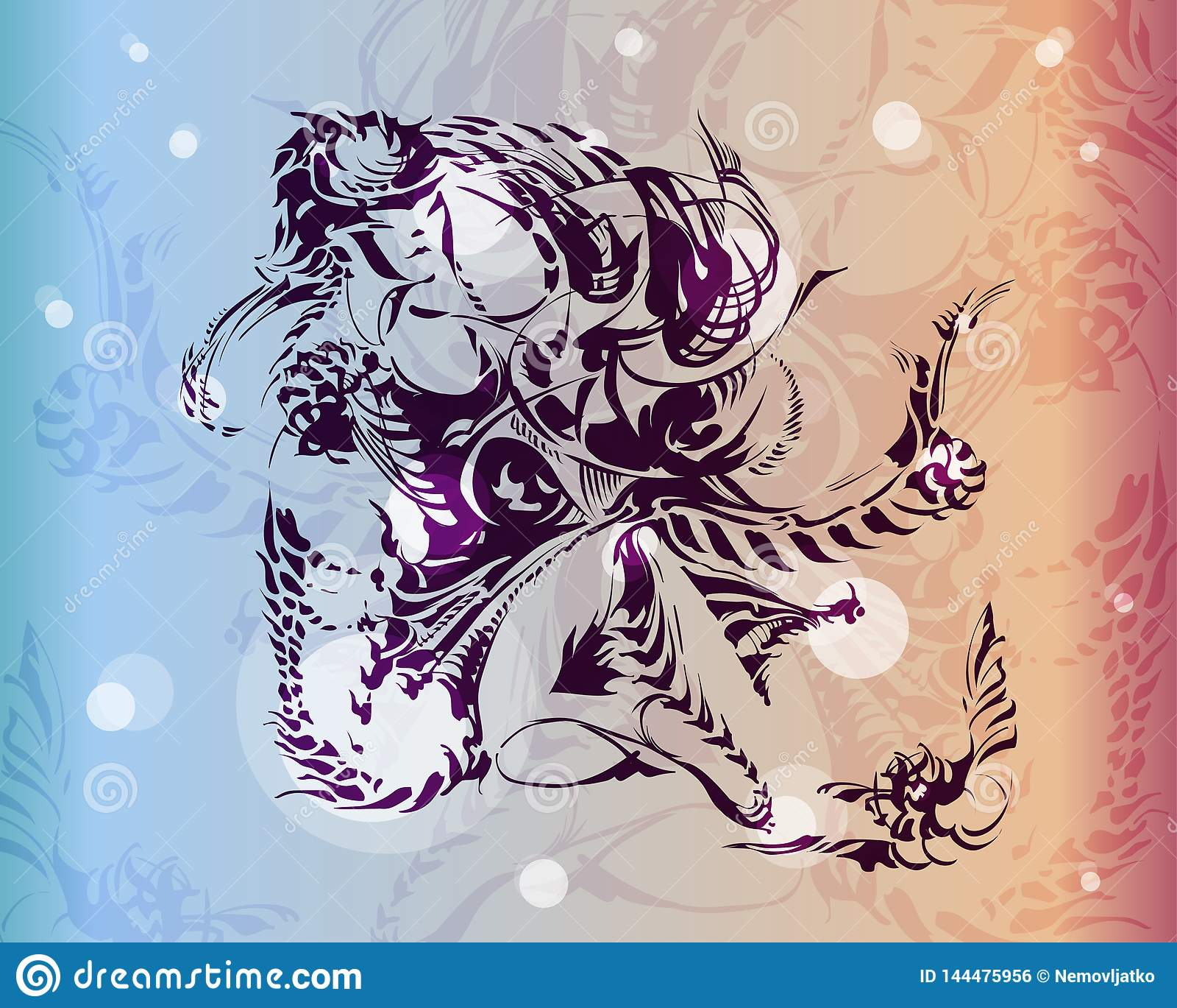 La siluetta della chimera è disegnata con inchiostro