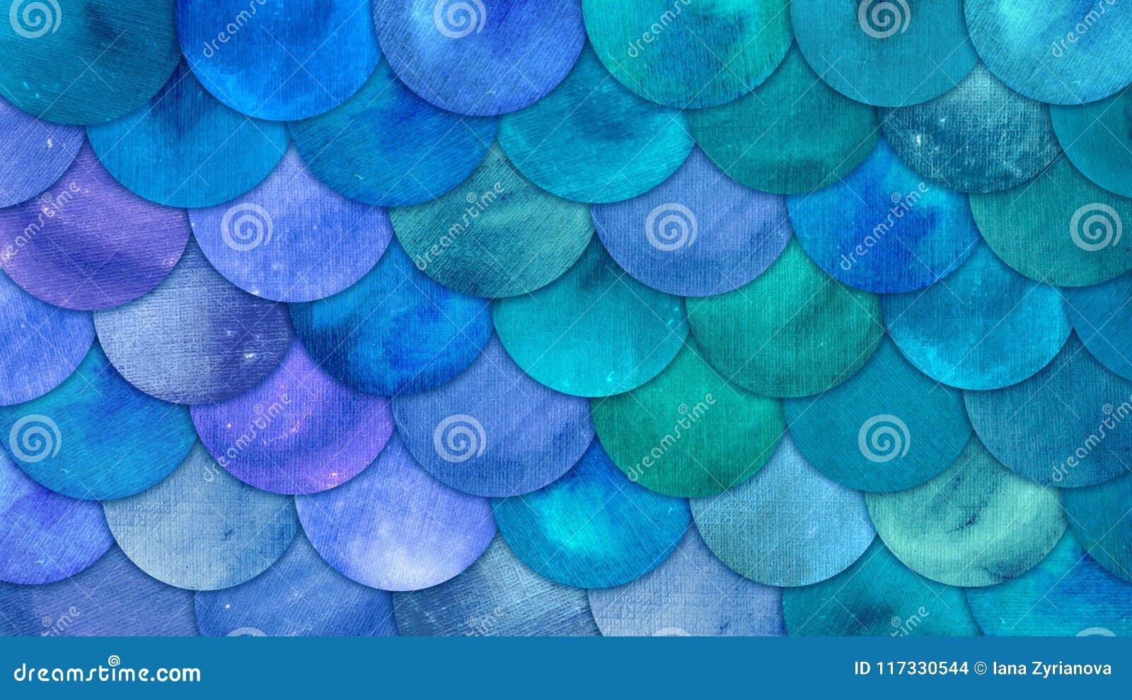 La sirena escala el fondo del squame de los pescados de la acuarela El modelo azul del mar del verano brillante con el reptilian