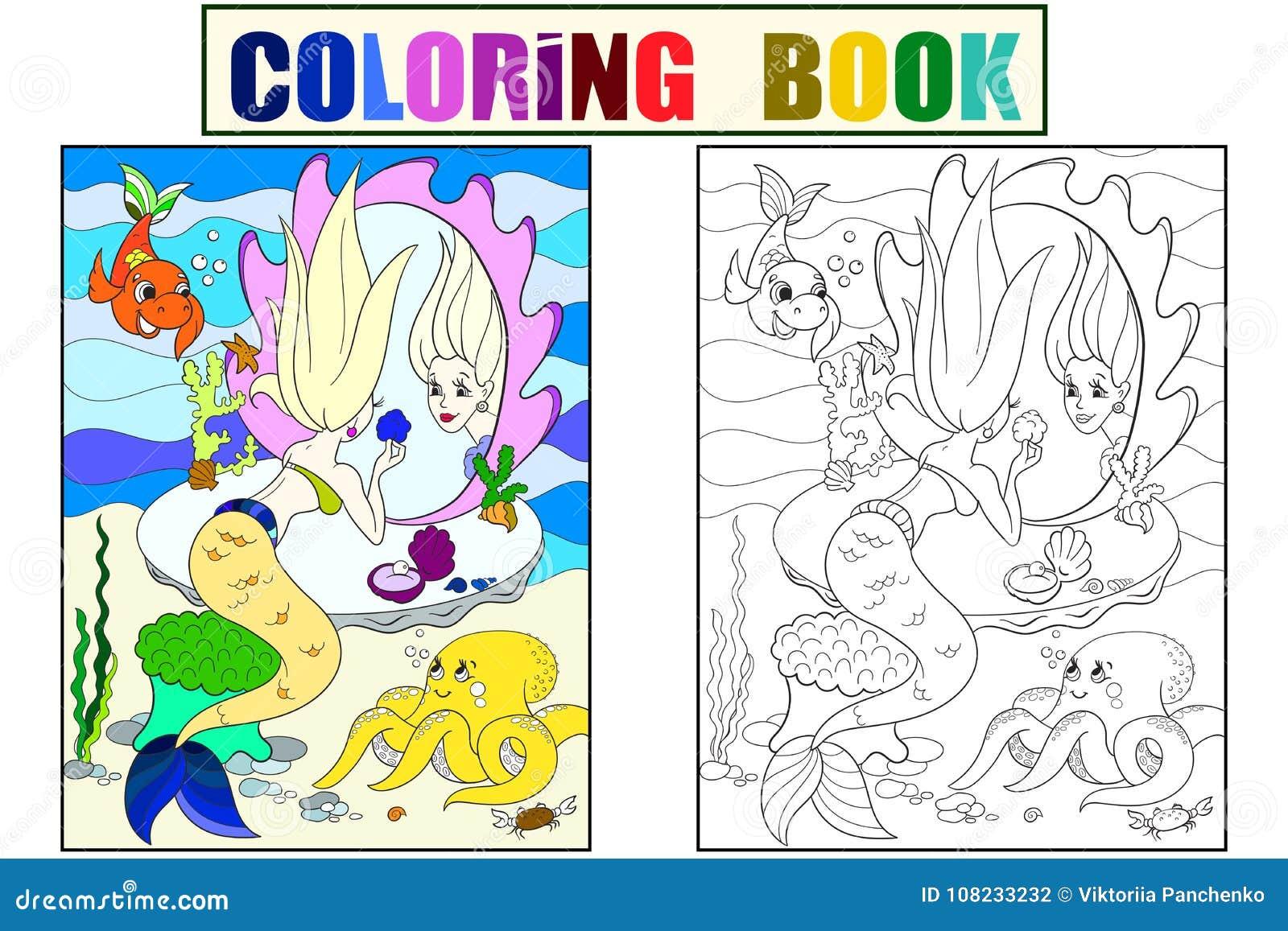 La sirena guarda nel libro da colorare dello specchio per - Sirena libro da colorare ...