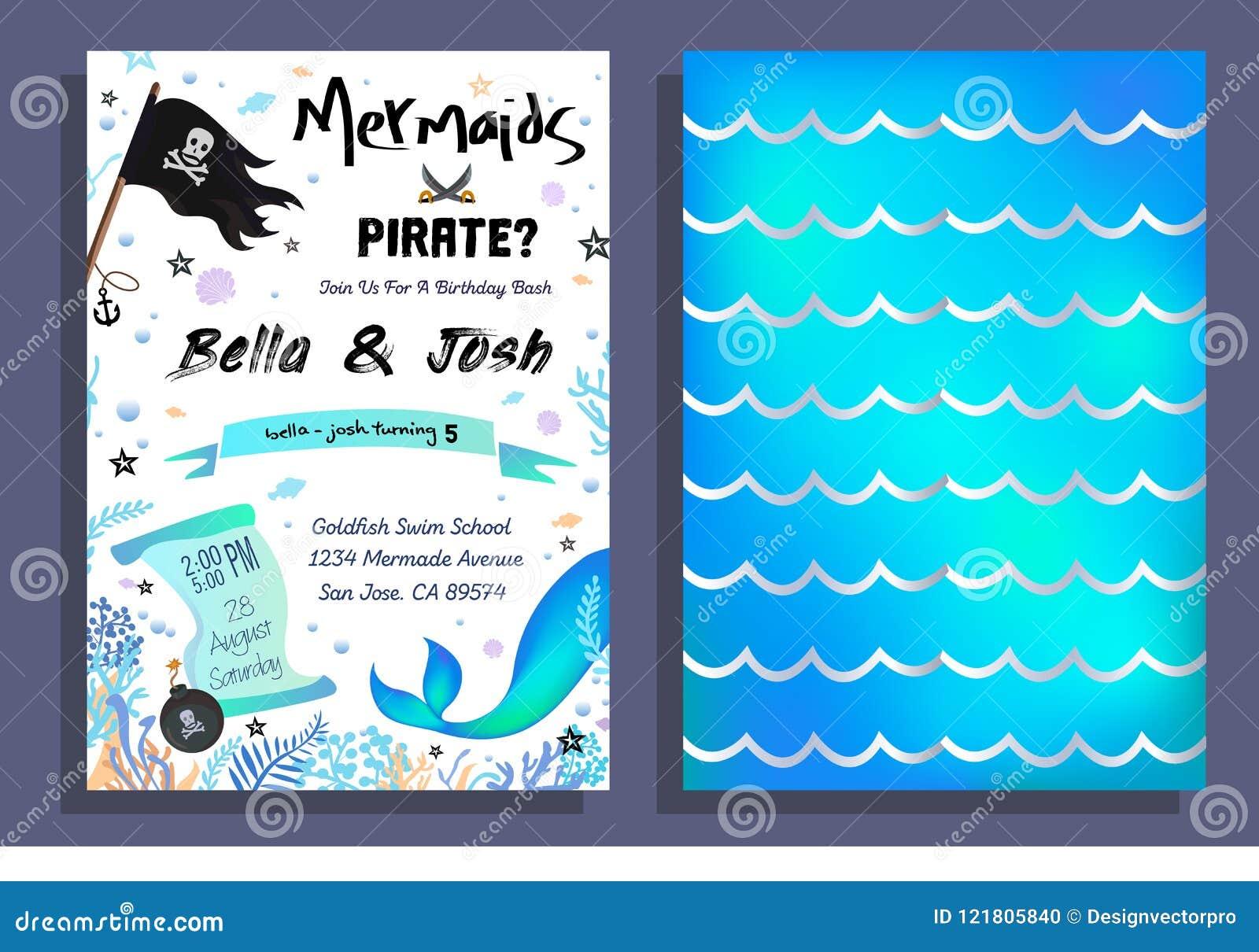 La sirena y el pirata van de fiesta la invitación con el fondo olográfico,
