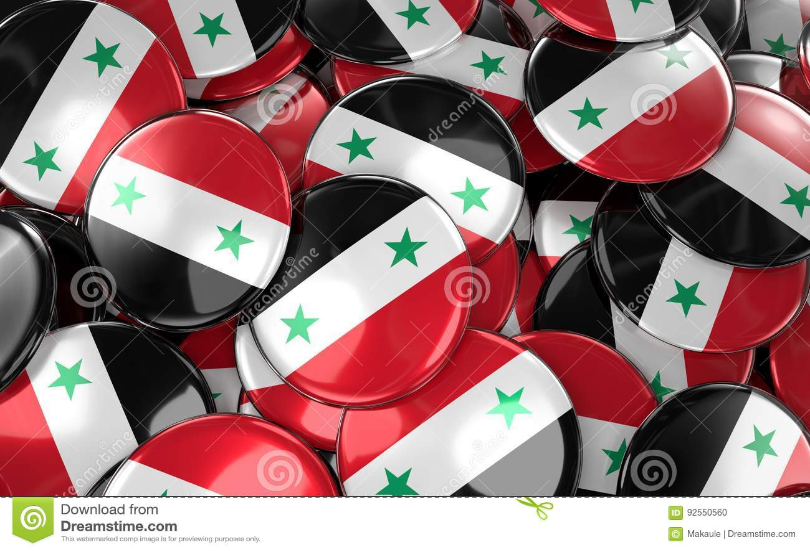 La Siria Badges il fondo - mucchio dei bottoni siriani della bandiera