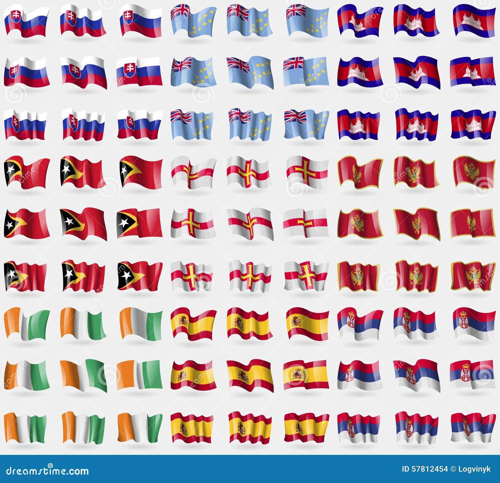 La Slovaquie, Tuvalu, Cambodge, Timor oriental, Guernesey, Monténégro, d ivoire de Cote, Espagne, Serbie Grand ensemble de 81 dra