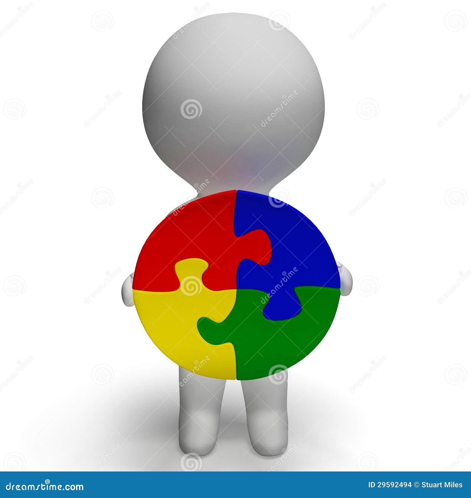 La soluzione del puzzle ed il carattere 3d mostra la soluzione o l integrità
