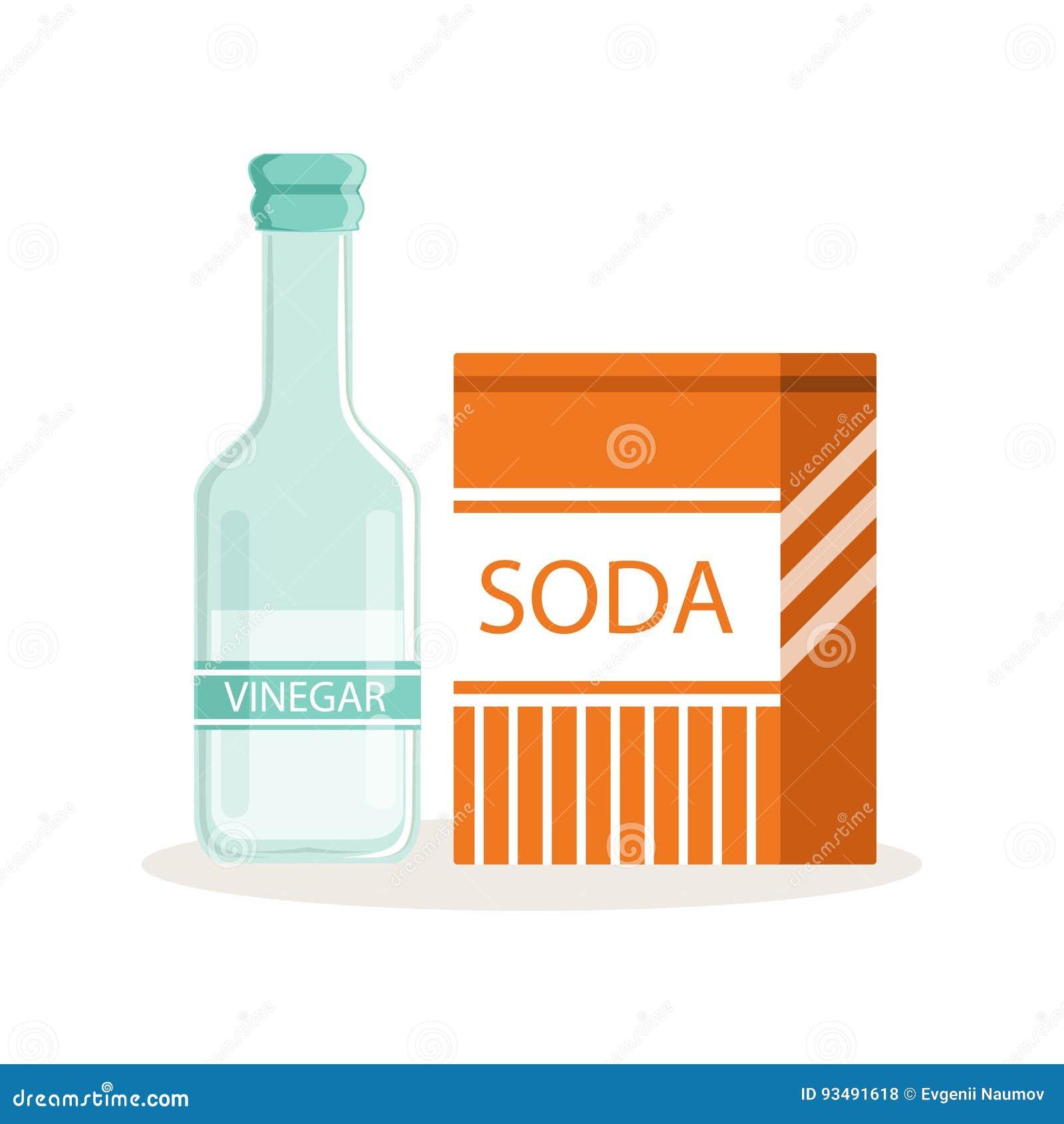 La soude dans un sac de papier de métier et une bouteille en verre de vinaigre, les ingrédients de cuisson dirigent l illustratio