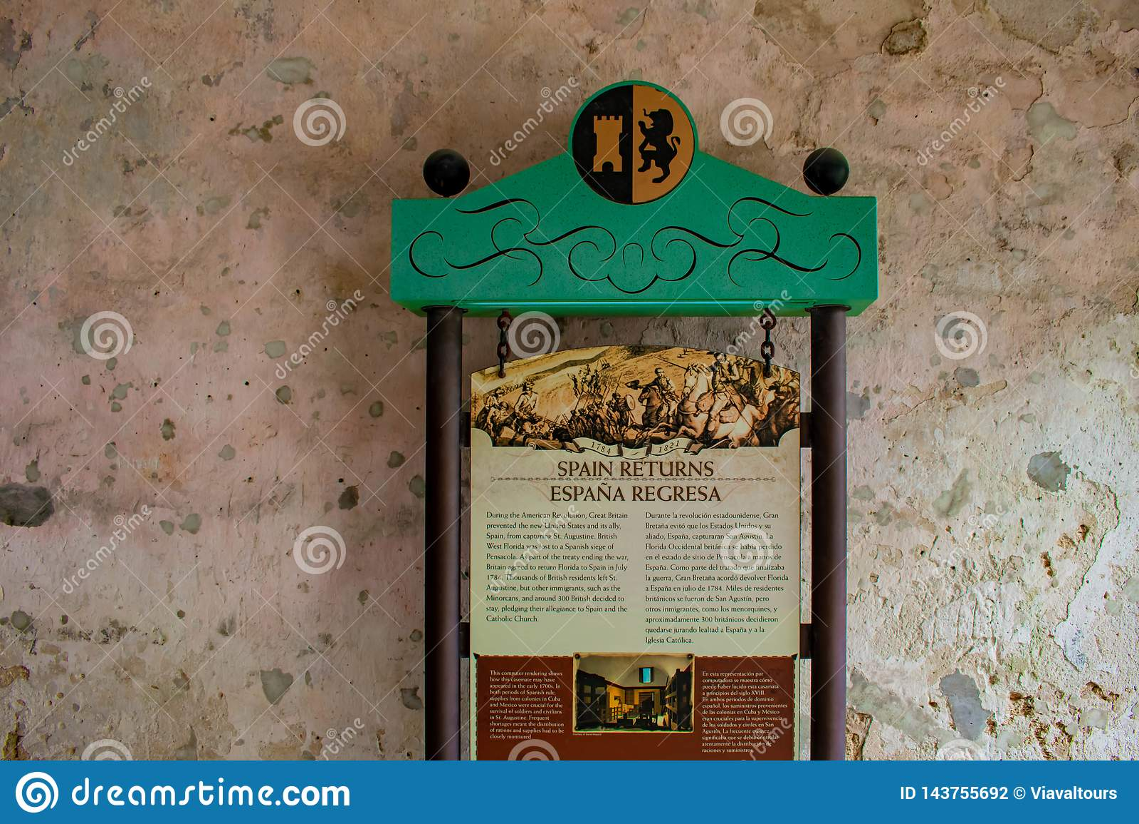 La Spagna restituisce il segno sulla parete rustica in Castillo de San Marcos Fort alla costa storica di Florida