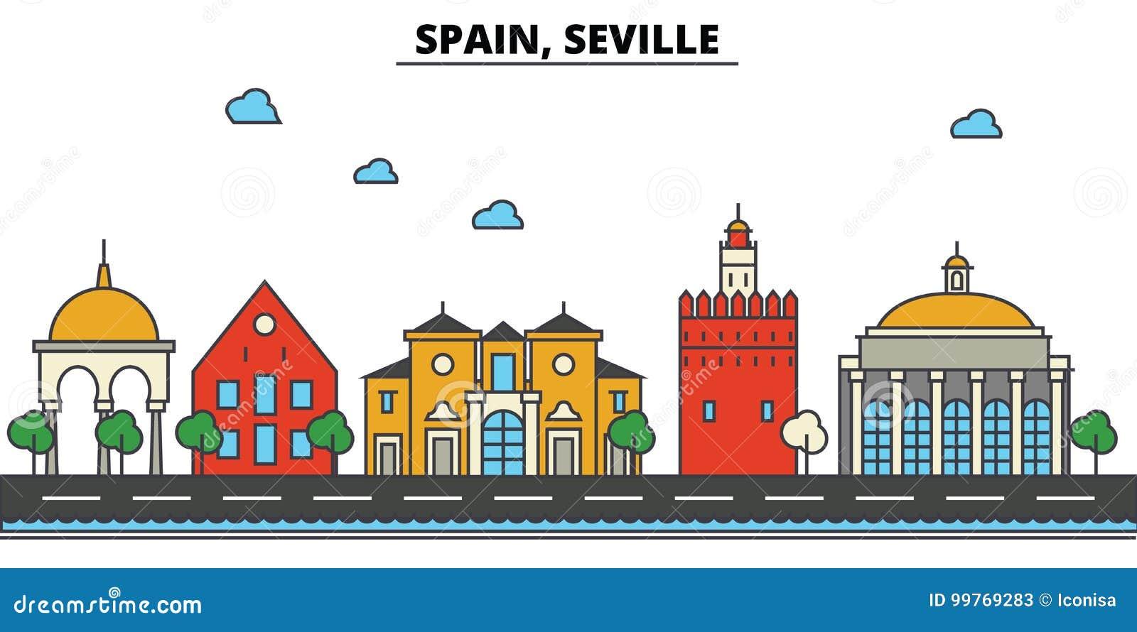 La Spagna, Siviglia Architettura dell orizzonte della città editable