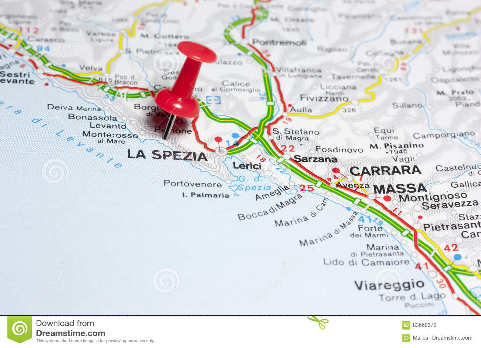 La Spezia Italia En Un Mapa Imagen de archivo   Imagen de aislado