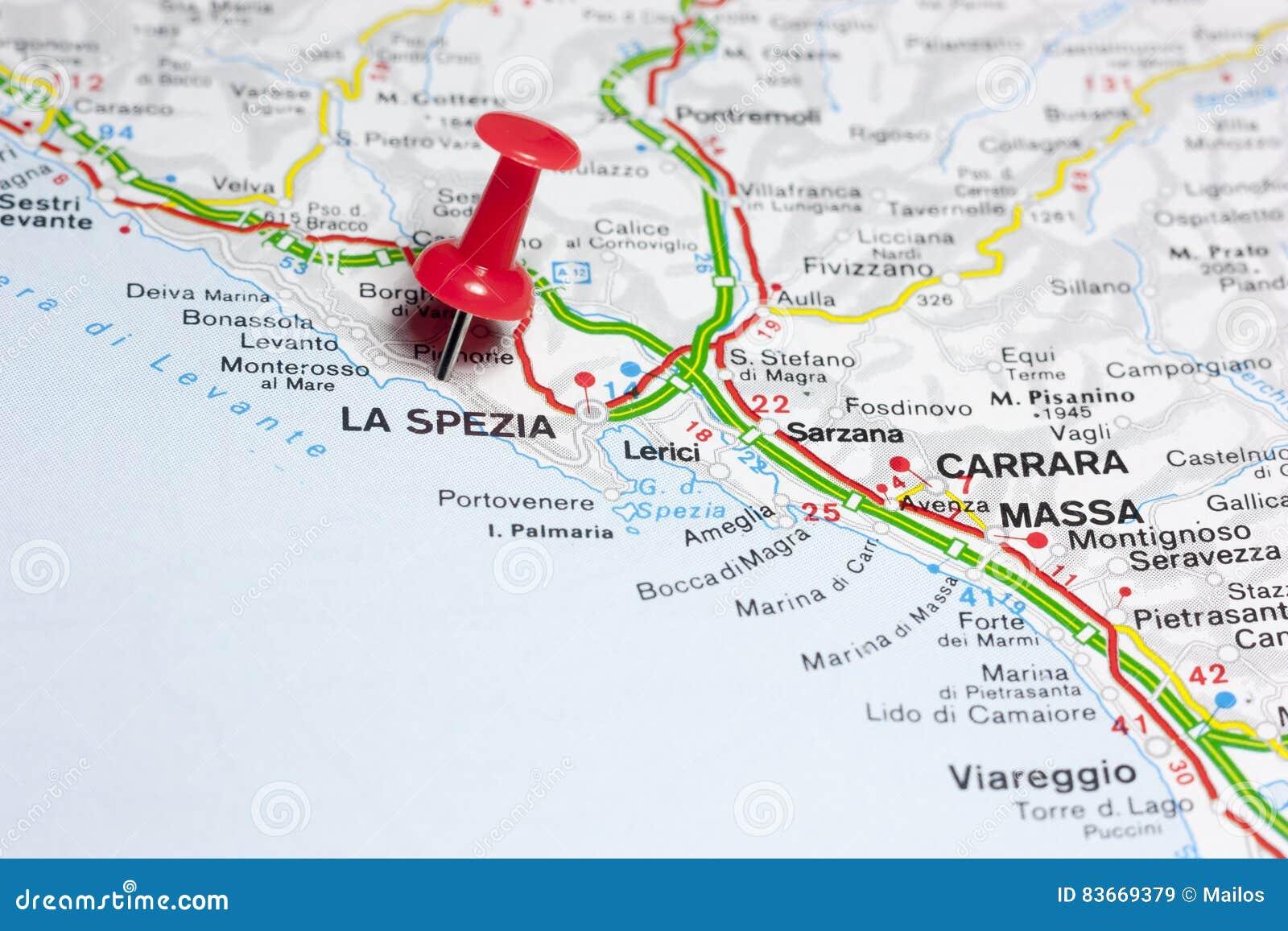 Cartina Italia La Spezia.La Spezia Italia Su Una Mappa Immagine Stock Immagine Di Rotondo Isolato 83669379