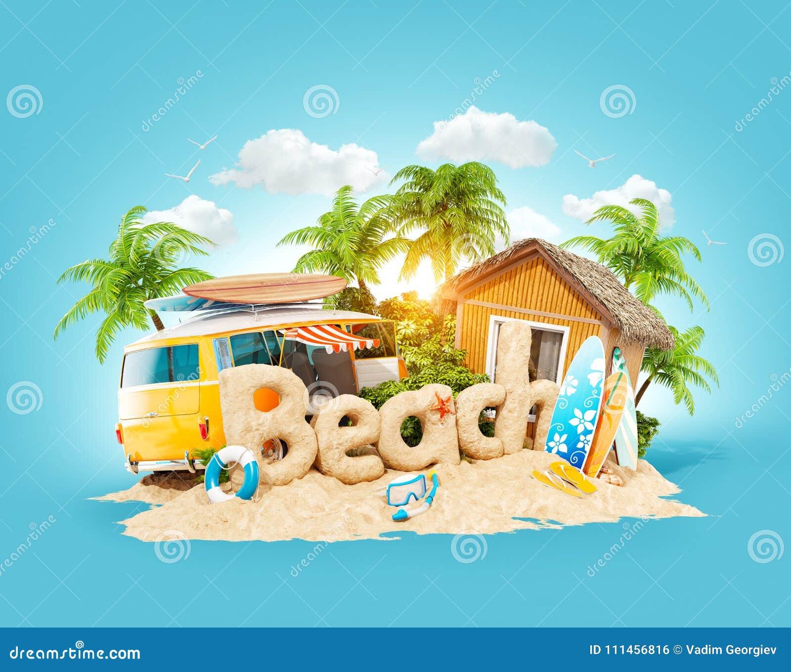 La spiaggia di parola fatta della sabbia sull isola tropicale Illustrazione insolita 3d delle vacanze estive Concetto di vacanza