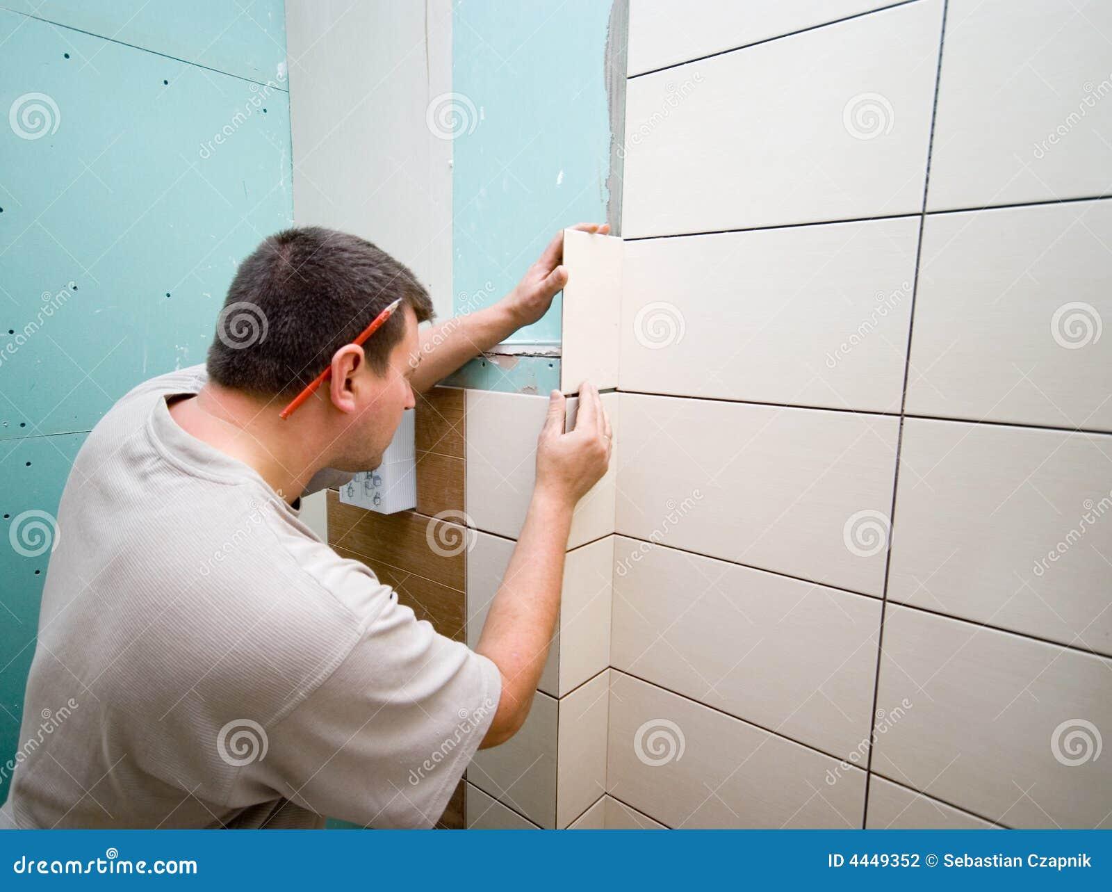La stanza da bagno copre di tegoli il rinnovamento