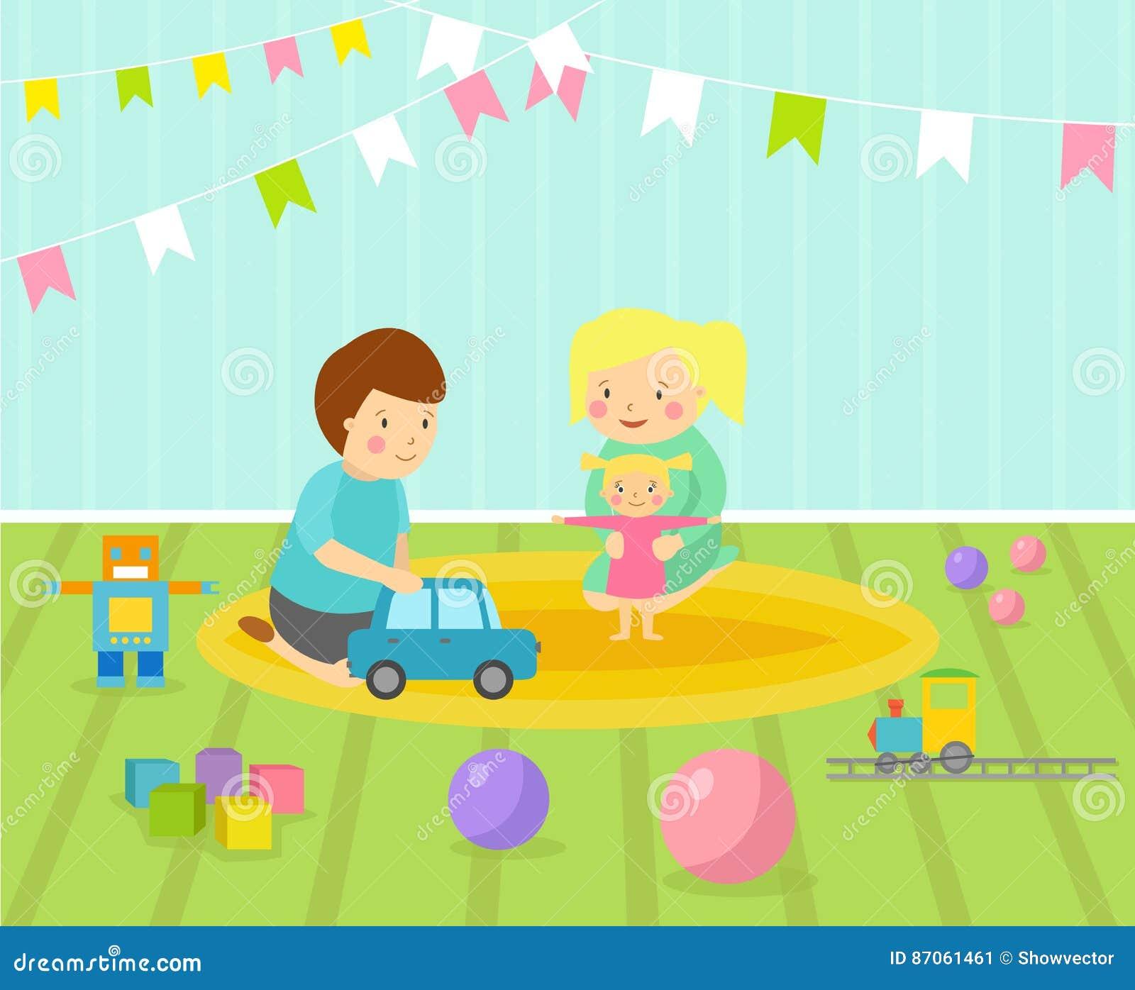 La stanza dei giochi dei bambini con il campo da giuoco - Giochi da baciare sul letto ...