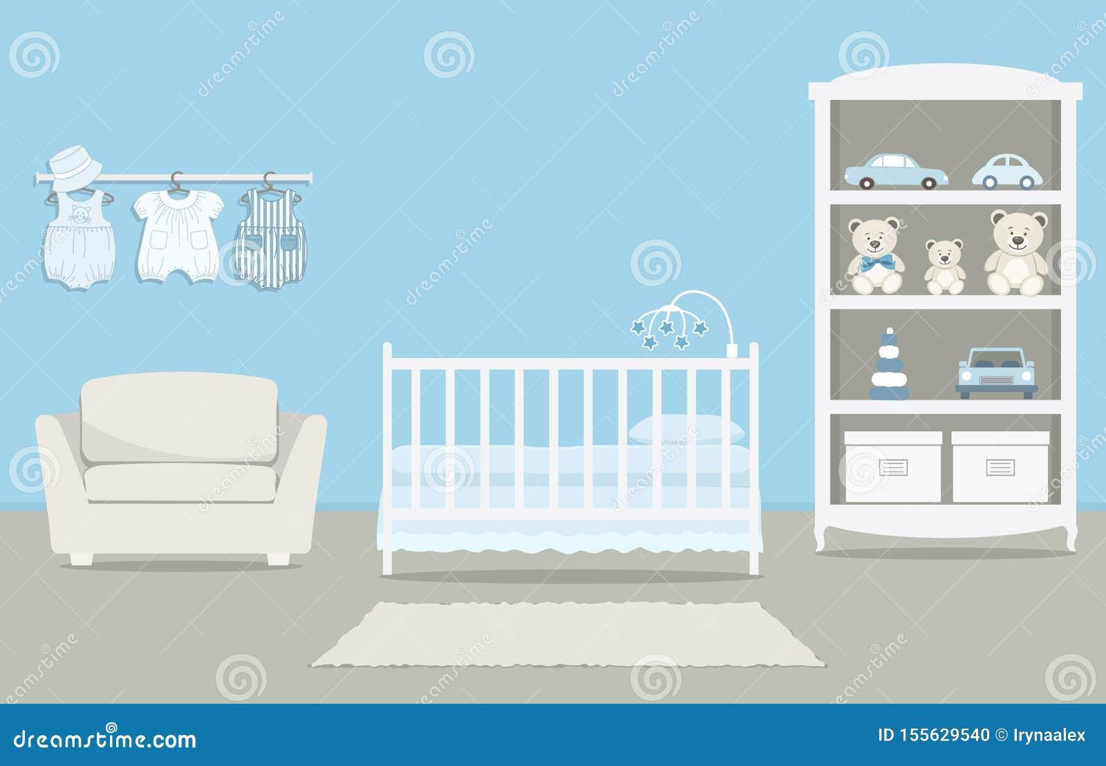 La stanza del bambino per un neonato Camera da letto interna per un neonato in un colore blu