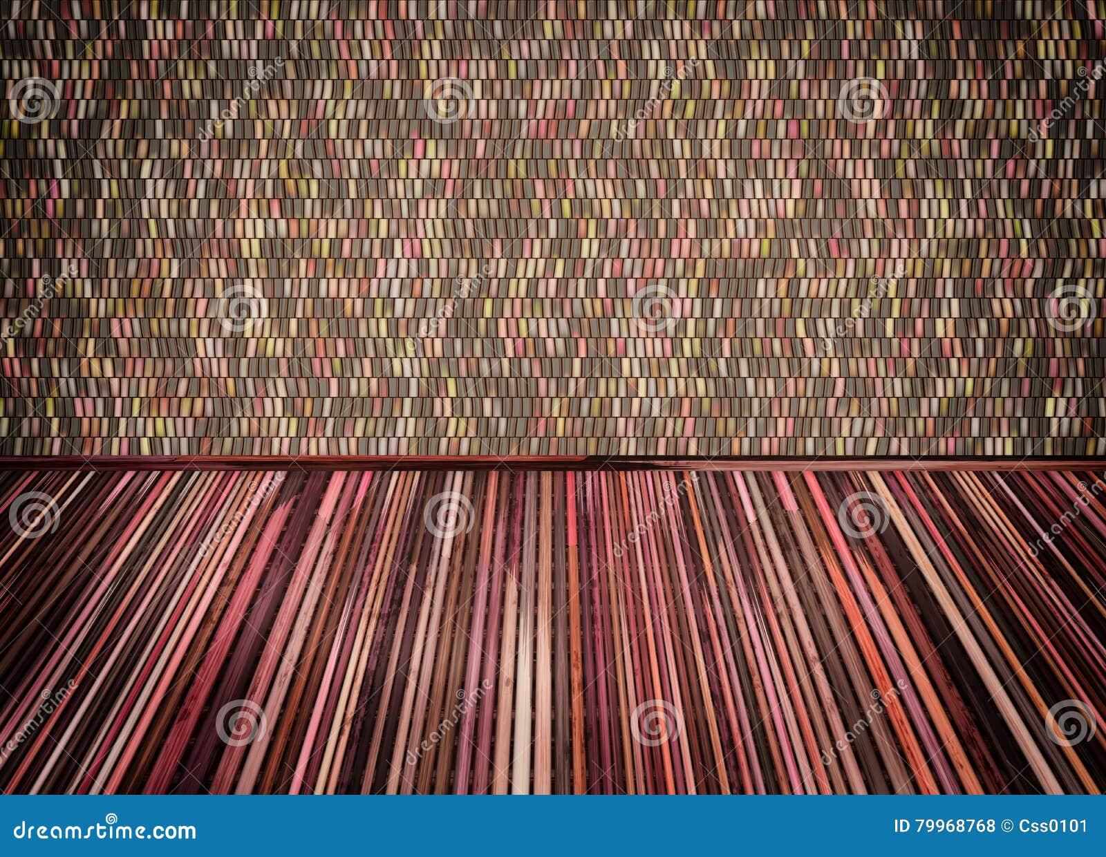 La stanza vuota con ricopre di paglia il pavimento e la parete