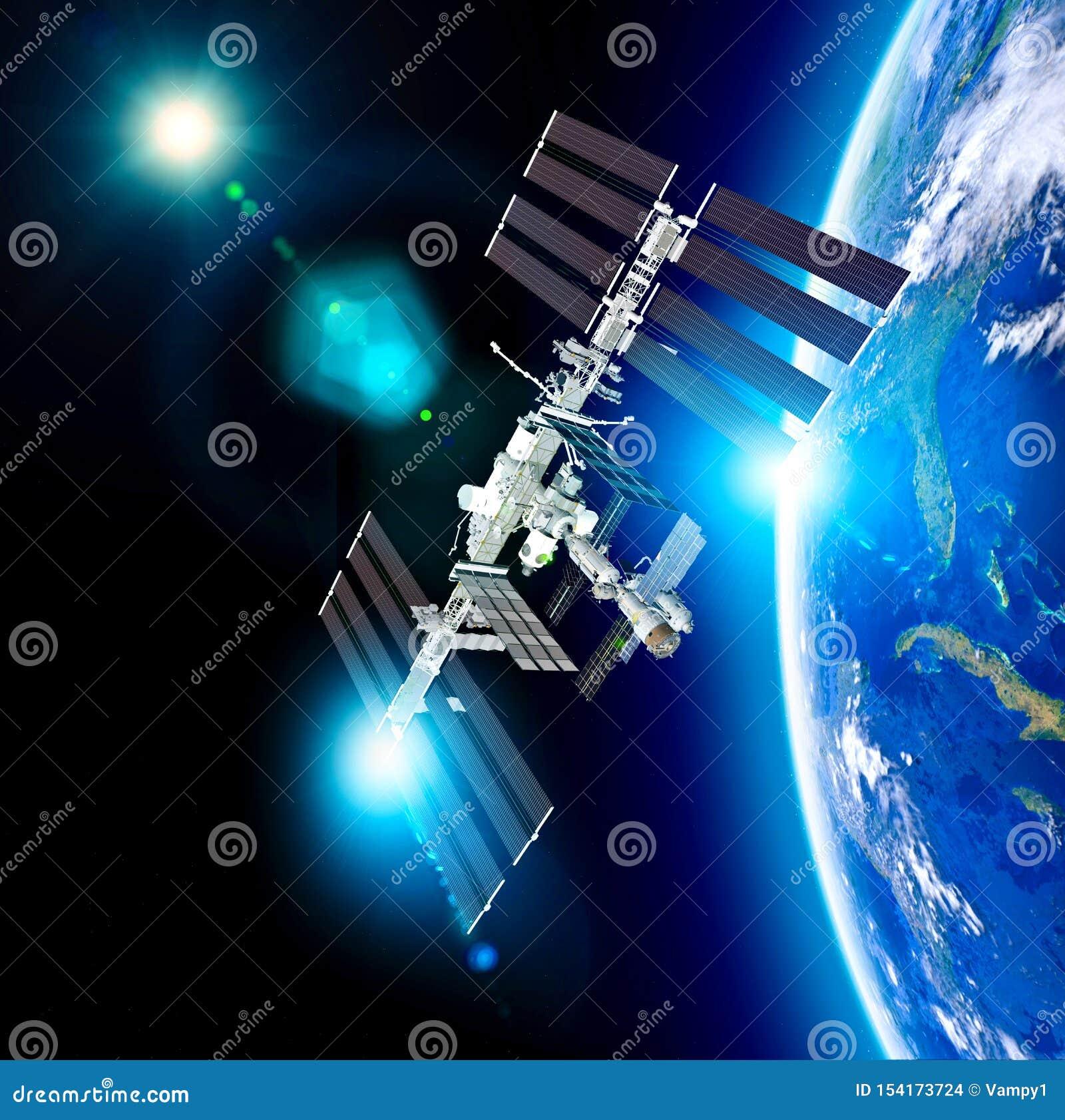 La Station Spatiale Internationale ISS est une station spatiale, ou un satellite artificiel habitable, dans la basse orbite terre
