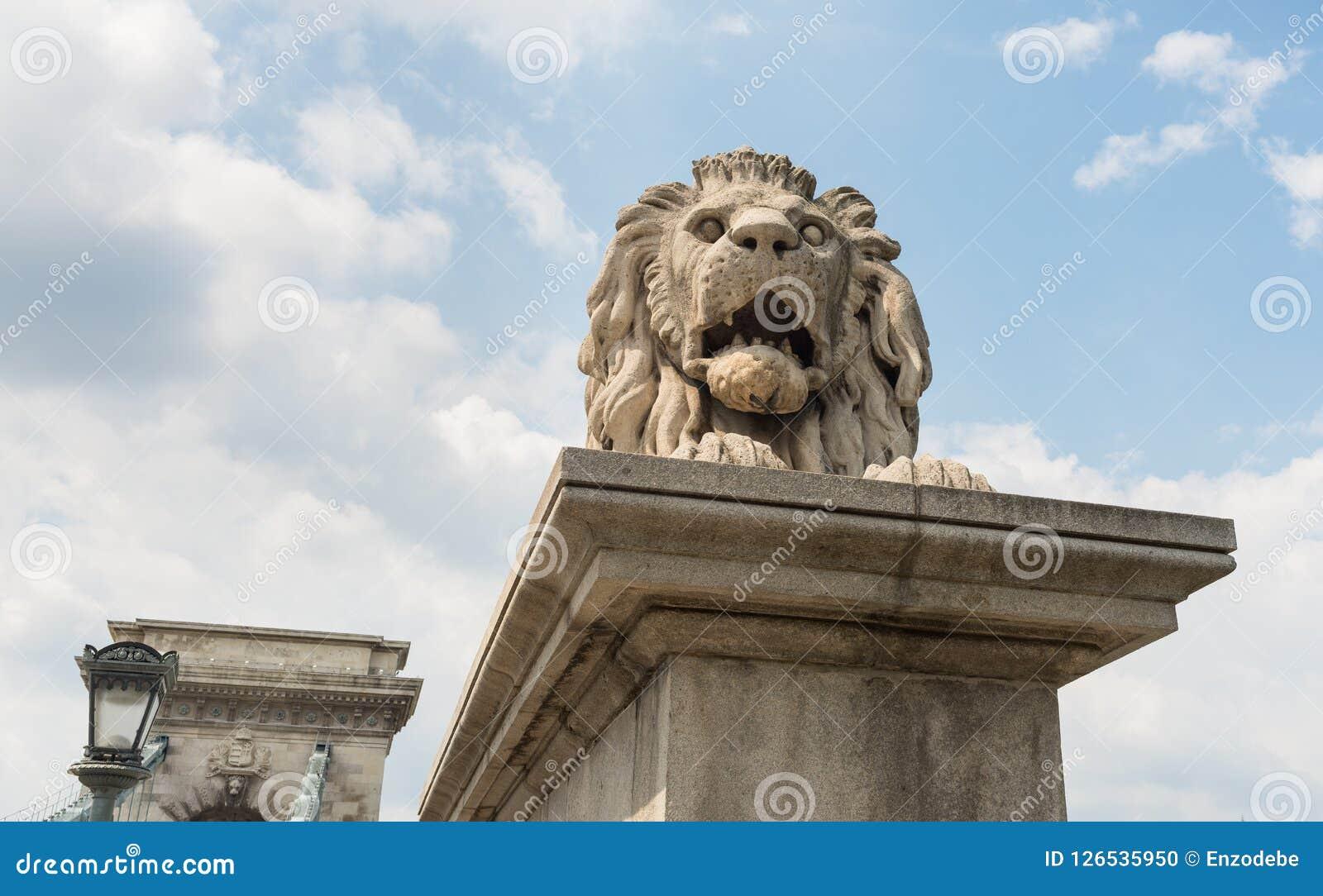 La statua del leone del ponte a catena - Budapest - Ungheria Fotografia Stock