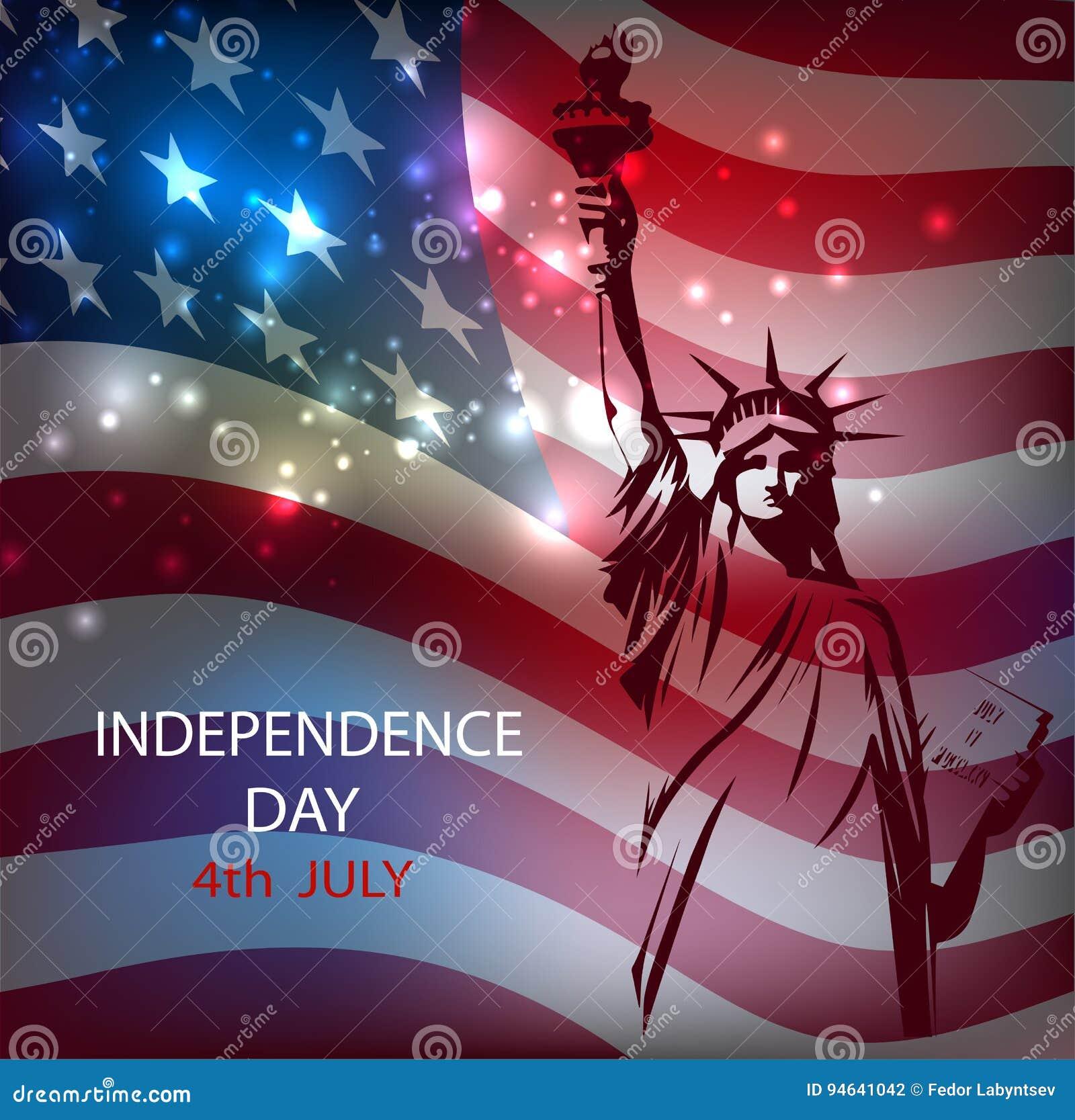 La Statua Della Libertà Contro Lo Sfondo Della Bandiera Nazionale Di