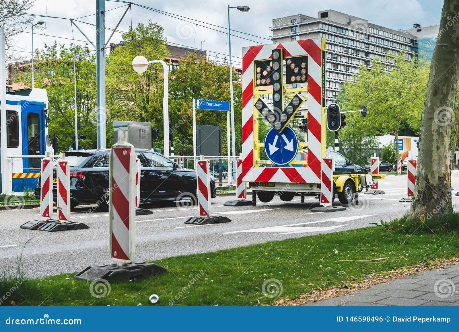 La strada ha chiuso il segno, per un intersezione Amsterdam Buitenveldert