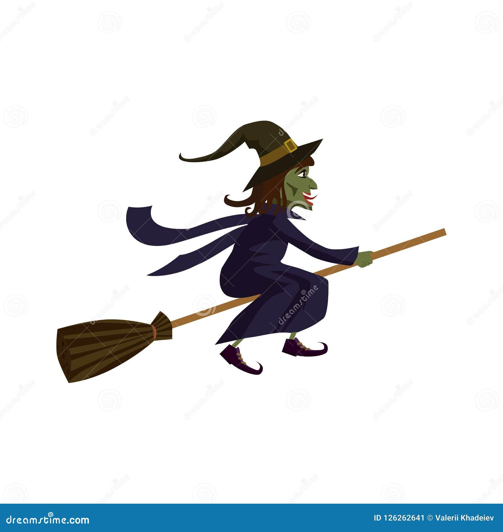 La strega su un manico di scopa, festa Halloween, carattere, attributo, icona, vettore, illustrazione, isolata, styyle del fumett