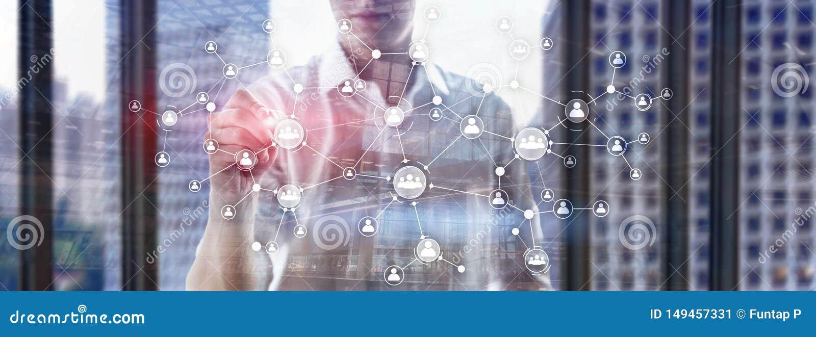 La struttura di organizzazione corporativa di concetto della gestione di risorse umane di ora ha mescolato lo schermo virtuale de