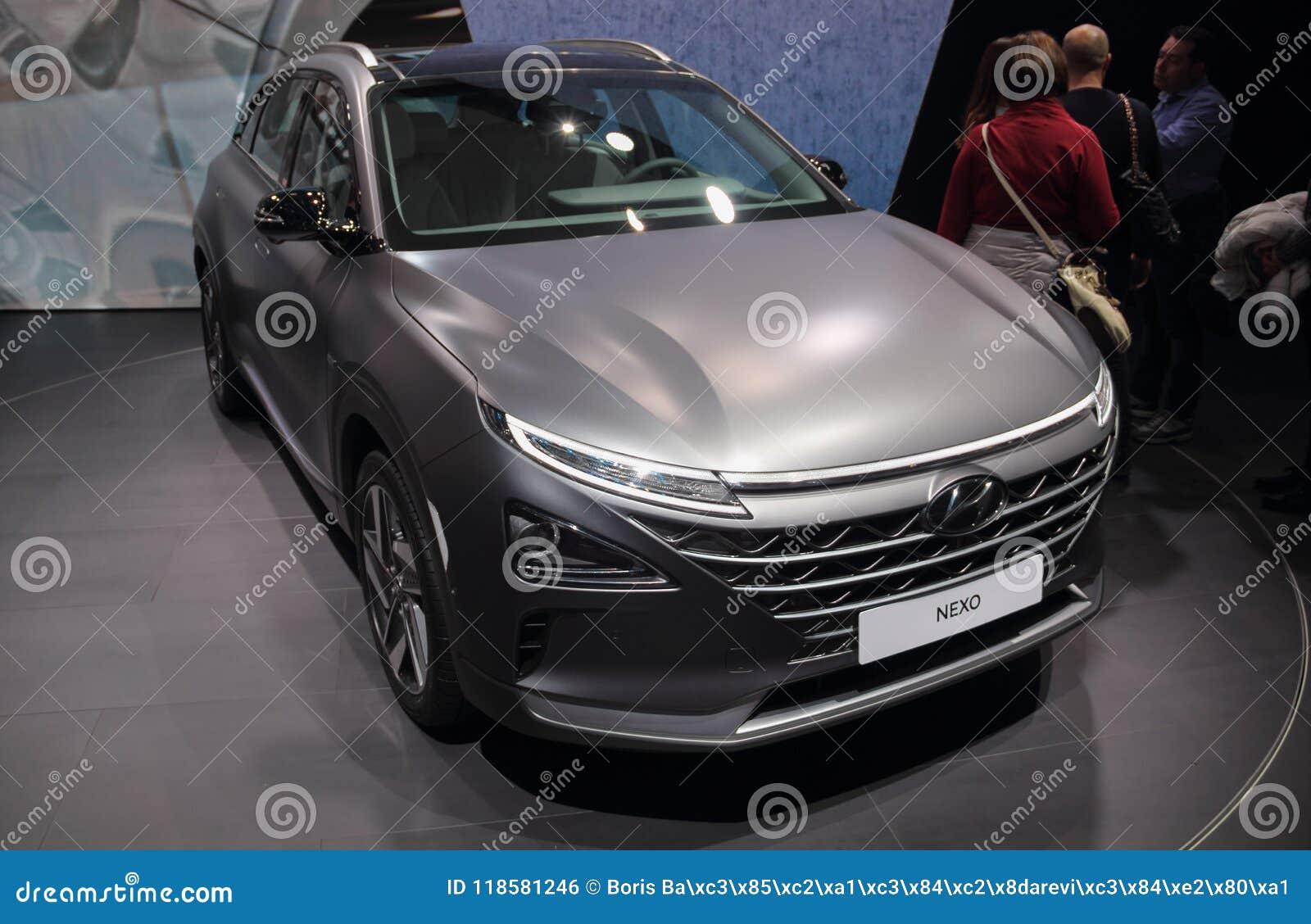 La Suisse ; Genève ; Le 8 mars 2018 ; Hyundai NEXO ; Le quatre-vingt-dix-huitième inter