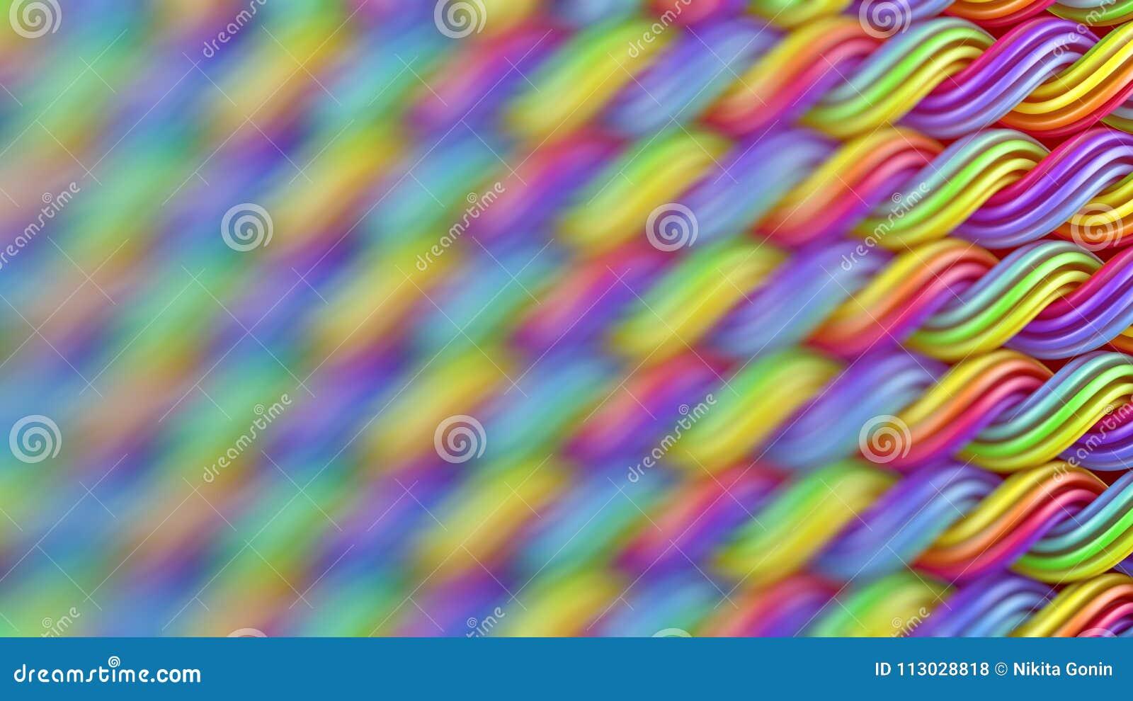 La superficie ondulada de curles multicolores adorna la representación abstracta 3D