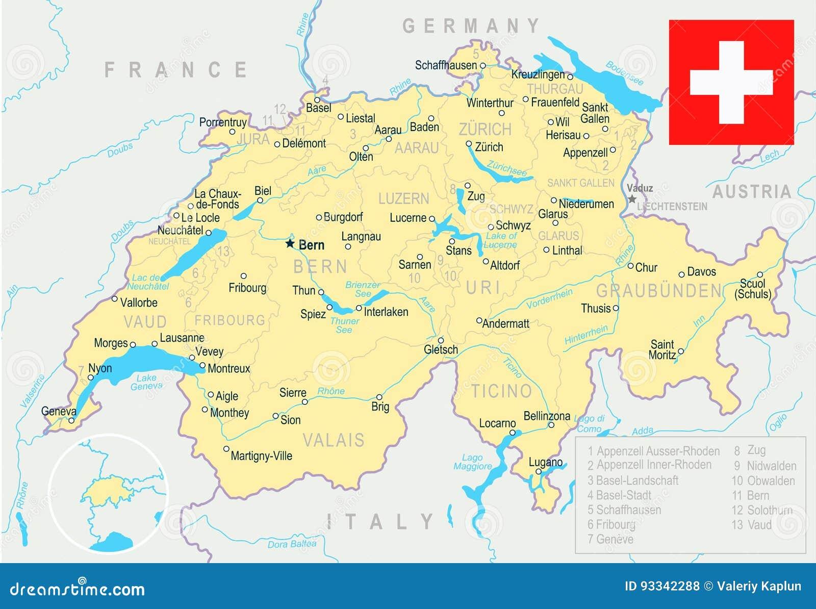 Dettagliata Cartina Della Svizzera.La Svizzera Mappa E Bandiera Illustrazione Illustrazione Di Stock Illustrazione Di Pittura Interfaccia 93342288