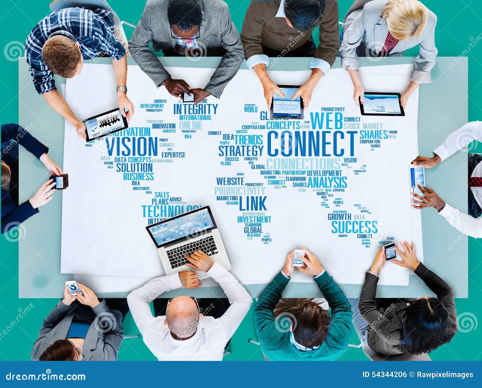 La télécommunication mondiale relient le concept mondial de part de lien