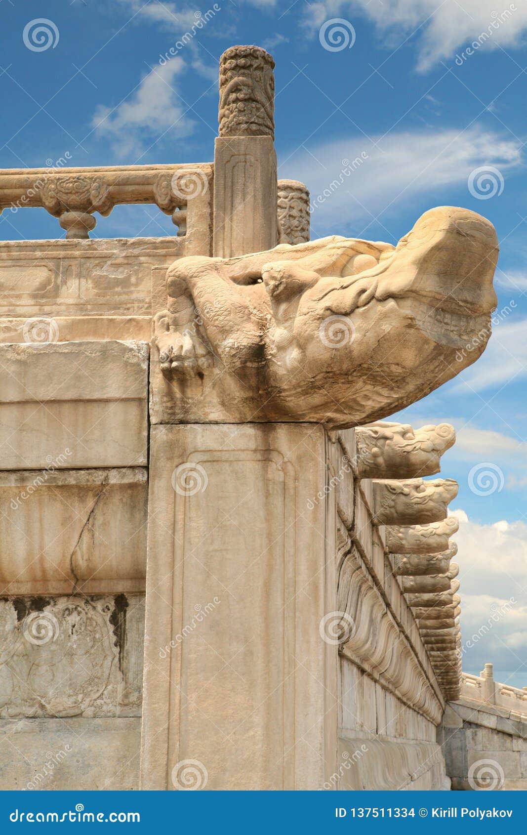 La tête d un dragon en pierre antique dans le Cité interdite Pékin