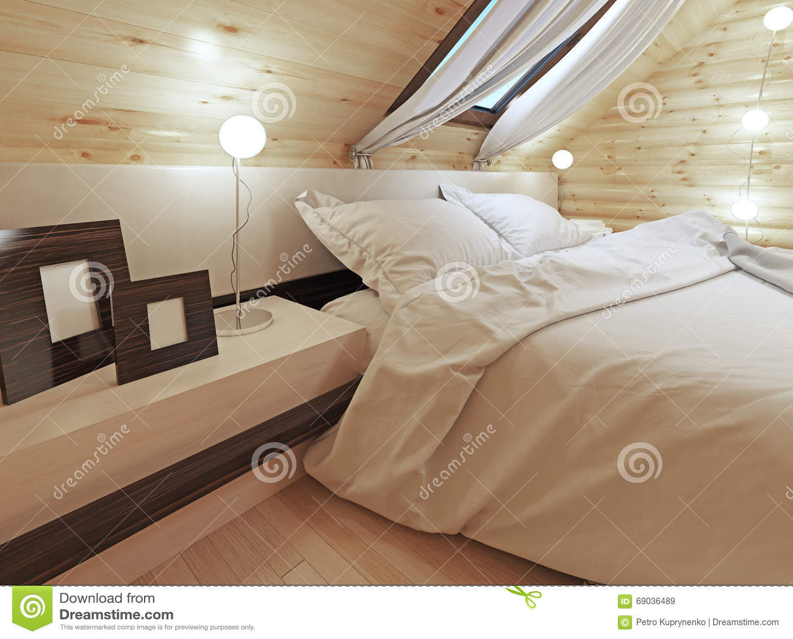 Rondin De Bois Table De Chevet la tête de lit du lit avec une table de chevet avec des