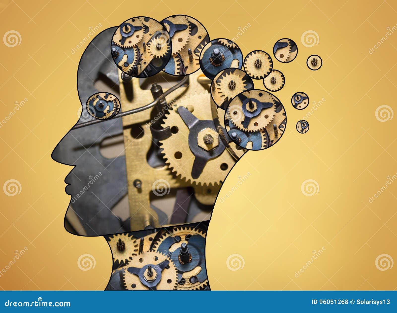 La tête masculine est remplie de vitesses sur le fond d or