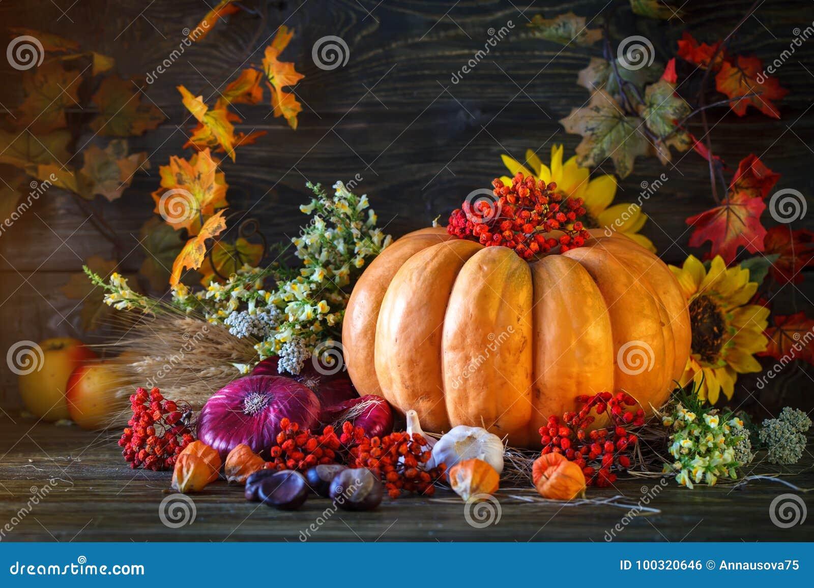 La tabla de madera adornada con las verduras, las calabazas y las hojas de otoño Fondo del otoño Schastlivy von Thanksgiving