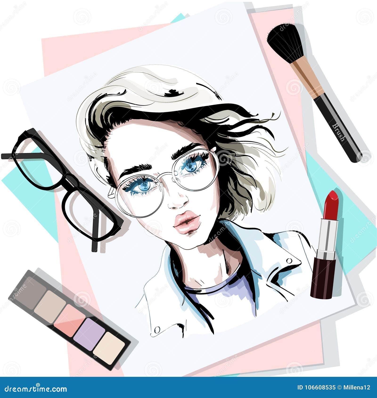 3f126f8813 La tabla elegante fijó con el retrato, los papeles, el lápiz labial, las  lentes, el cepillo y sombreadores de ojos dibujados mano de la mujer  bosquejo ...