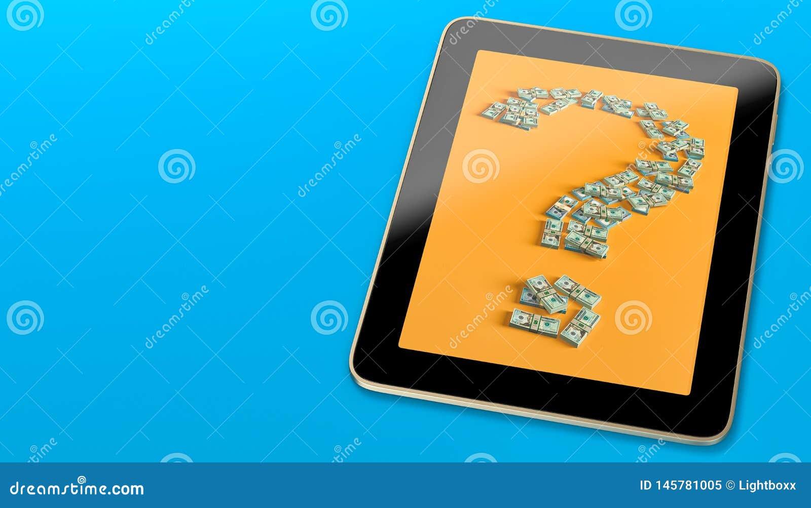 La Tablette générique montrant un point d interrogation a fait des billets d un dollar de fom