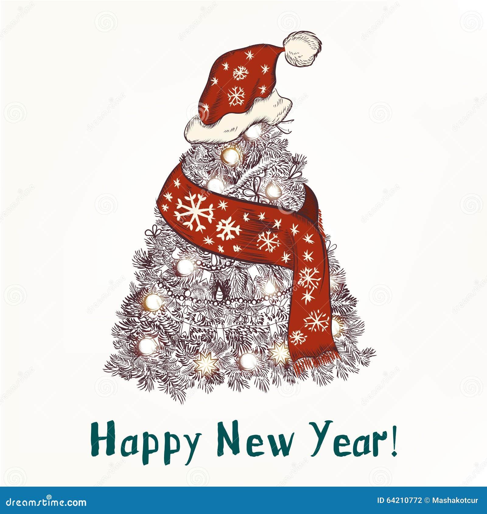 La tarjeta de felicitación de la Navidad o del Año Nuevo con la mano dibujada adornó Xm