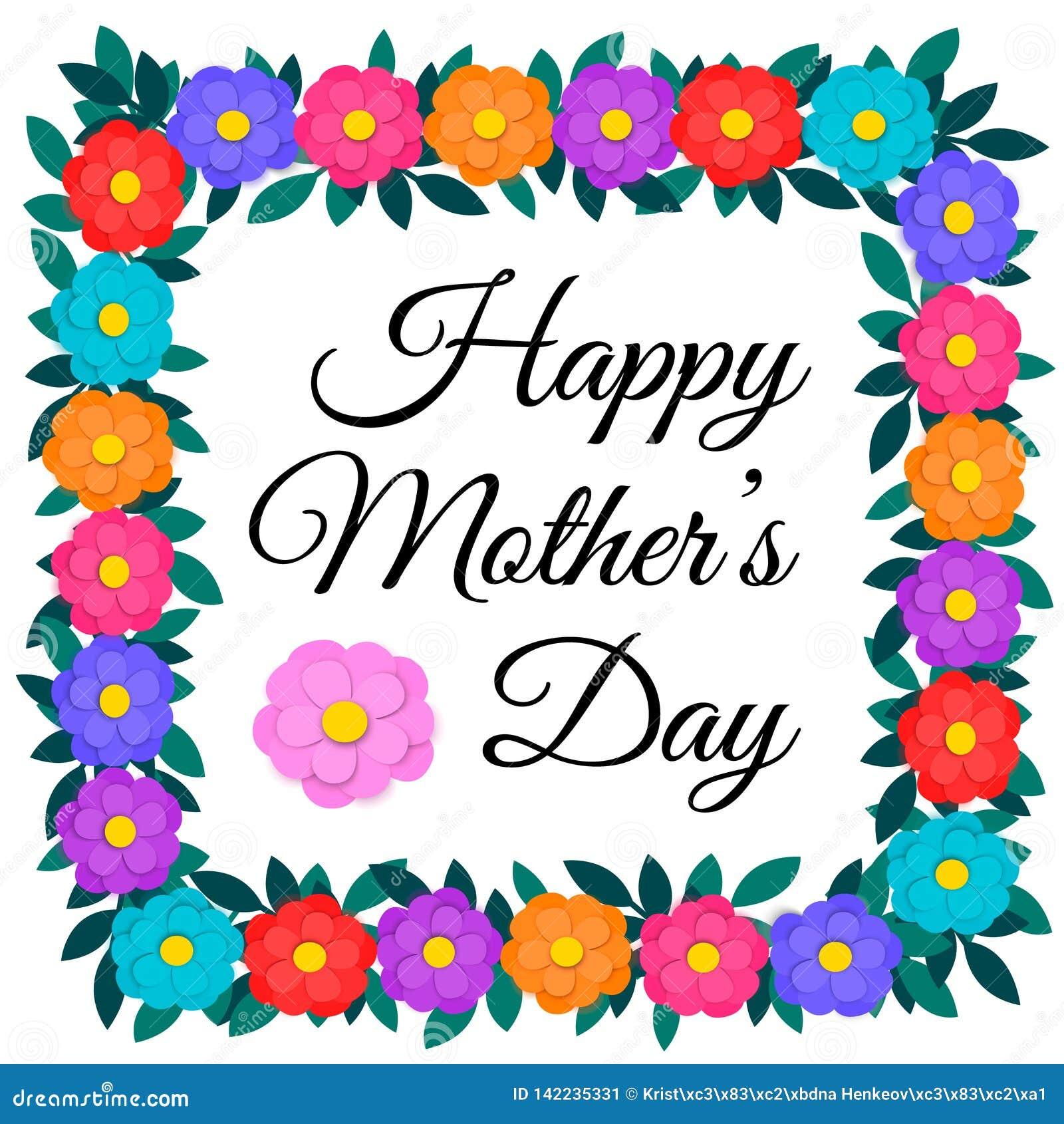 La tarjeta de felicitación del día de madres con el papel colorido cortó las flores y el marco cuadrado o la frontera de la guirn