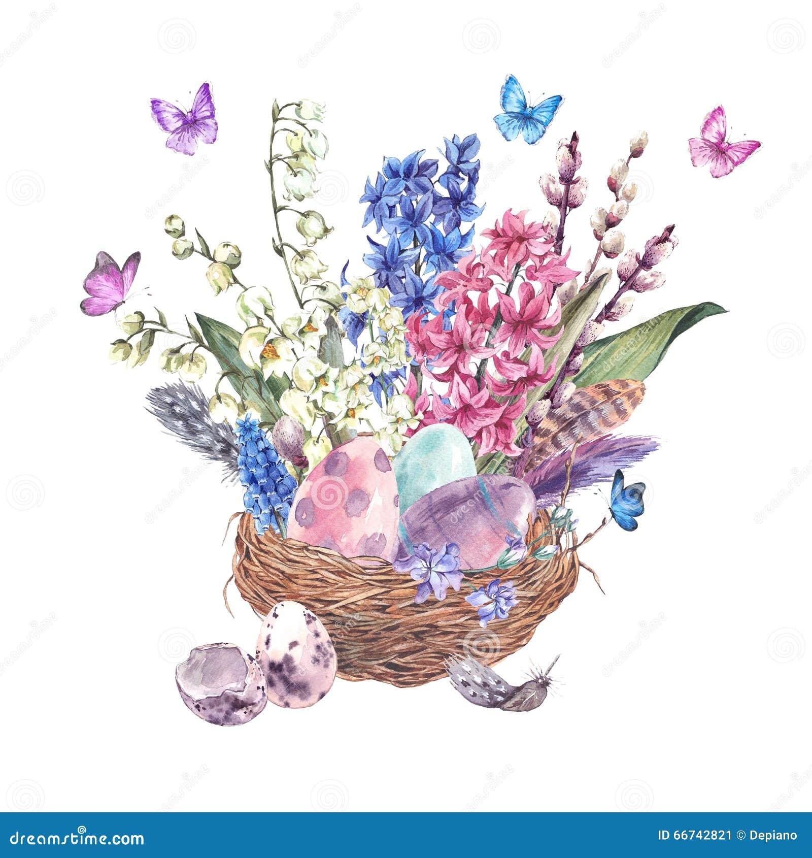 La tarjeta de felicitación feliz de Pascua de la acuarela, primavera florece el ramo