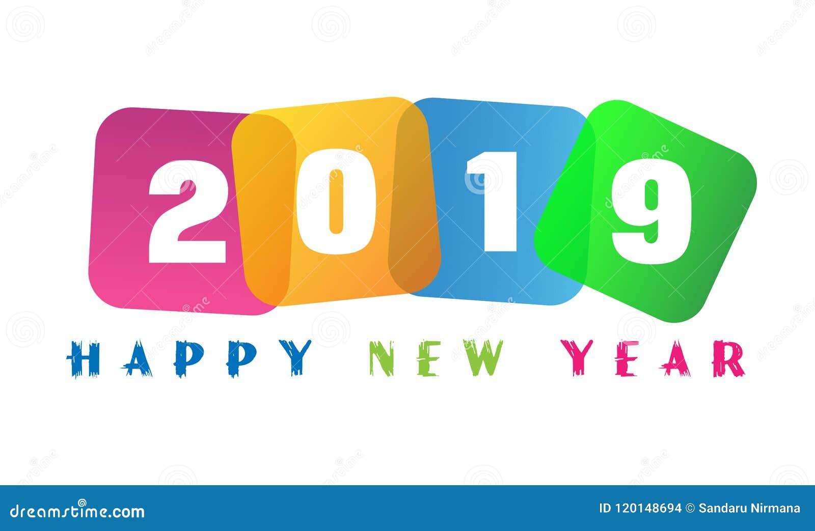 La tarjeta de la Feliz Año Nuevo 2019 y el texto del saludo diseñan