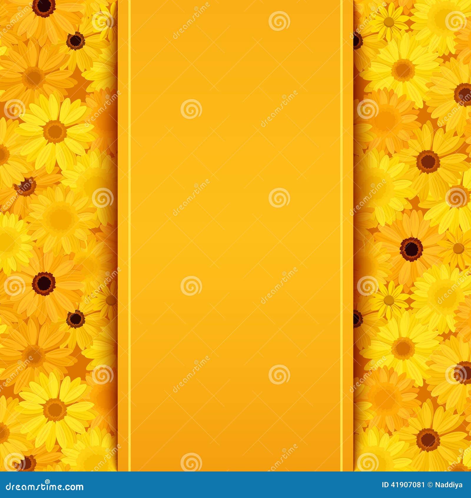La tarjeta de la invitación con el gerbera amarillo y anaranjado florece