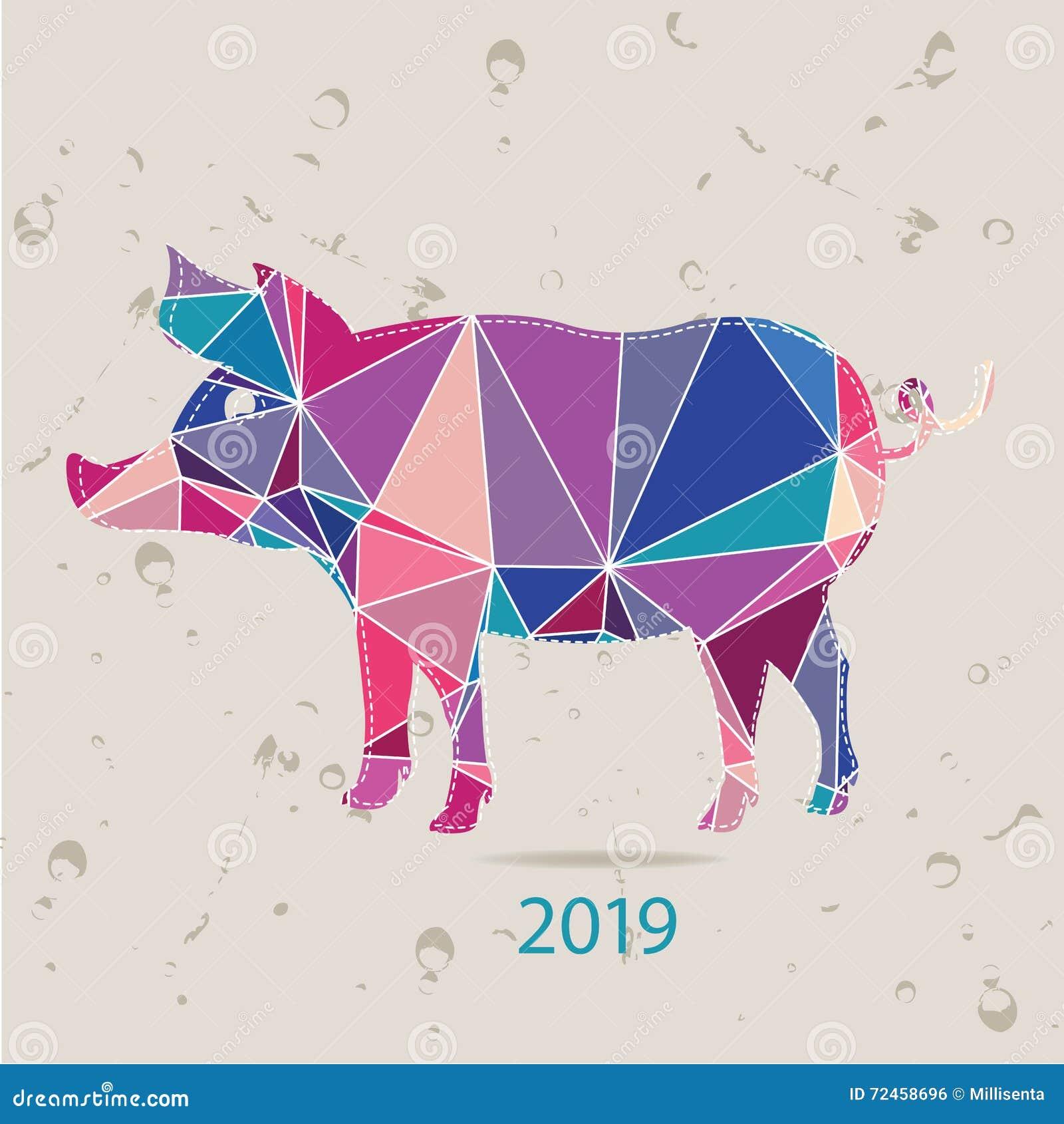 La tarjeta del Año Nuevo 2017 con el cerdo hecho de triángulos