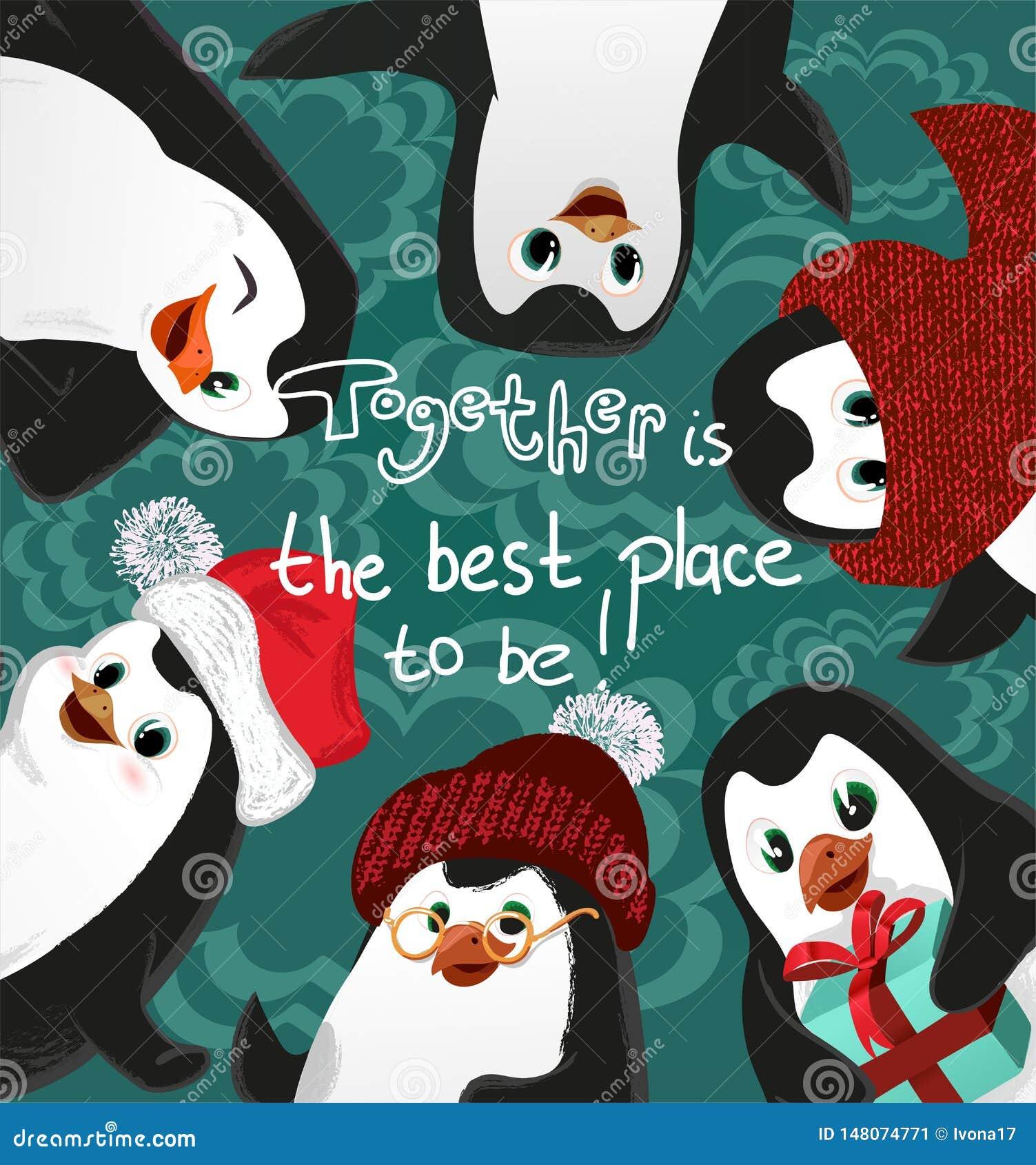 La tarjeta del vector de la Navidad de los amigos de los pingüinos, junta es el mejor lugar a ser