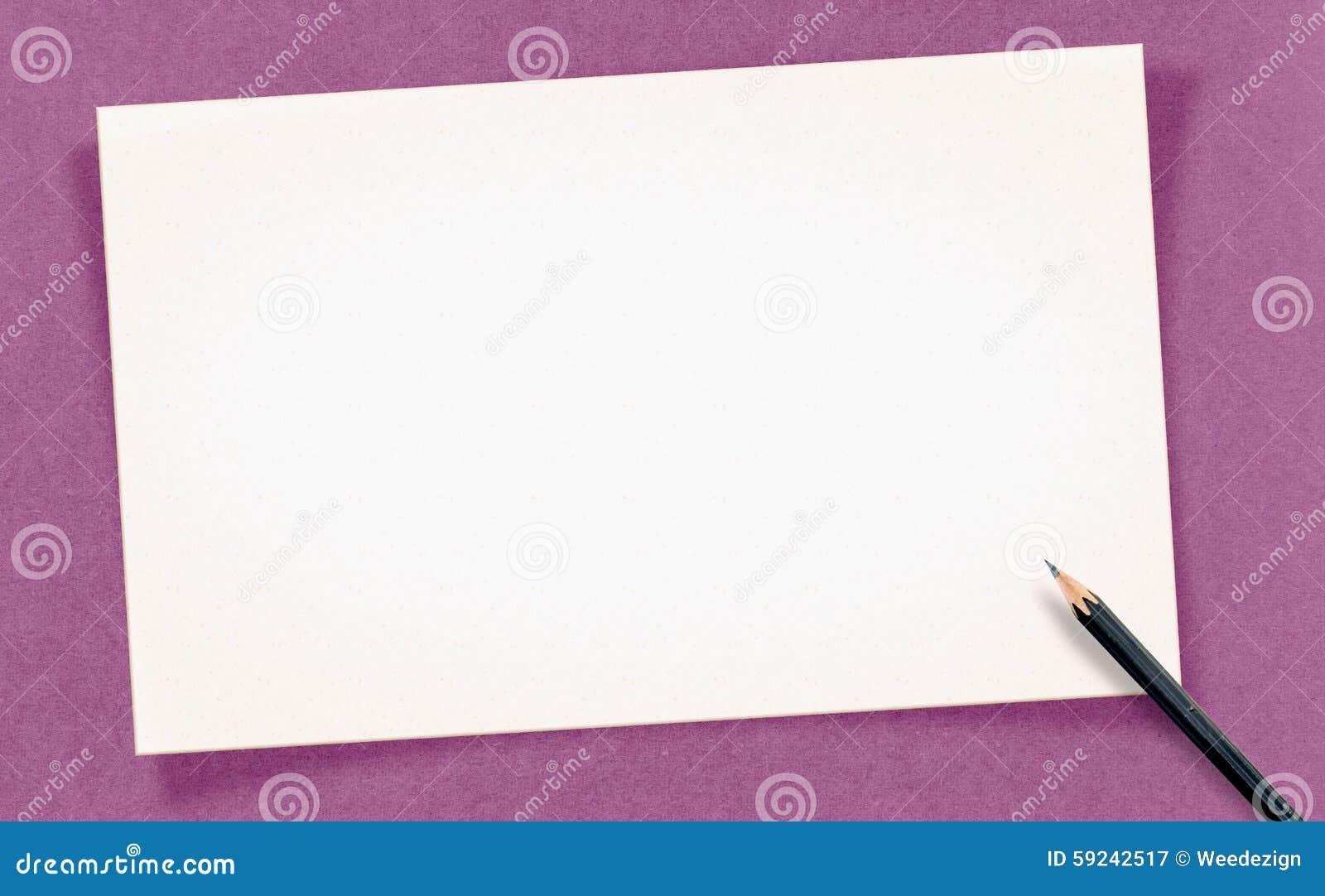 Download La Tarjeta En Blanco Blanca Del Vintage Con El Lápiz En El Papel Del Arte, Imita Para Arriba Para Imagen de archivo - Imagen de bandera, saludo: 59242517