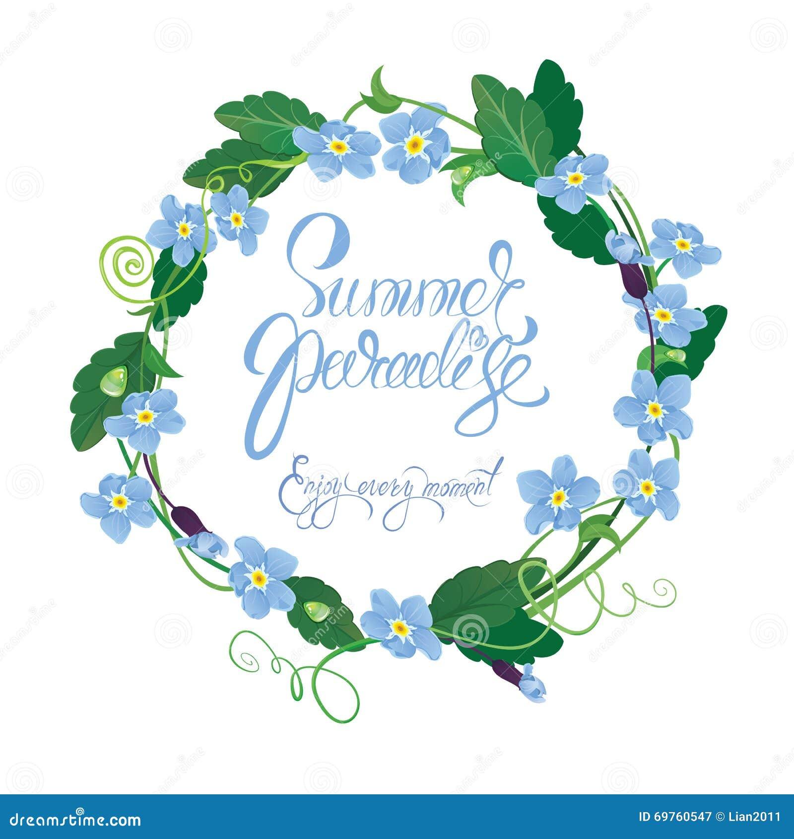 La tarjeta estacional del día de fiesta con el marco redondo de me olvida no las flores